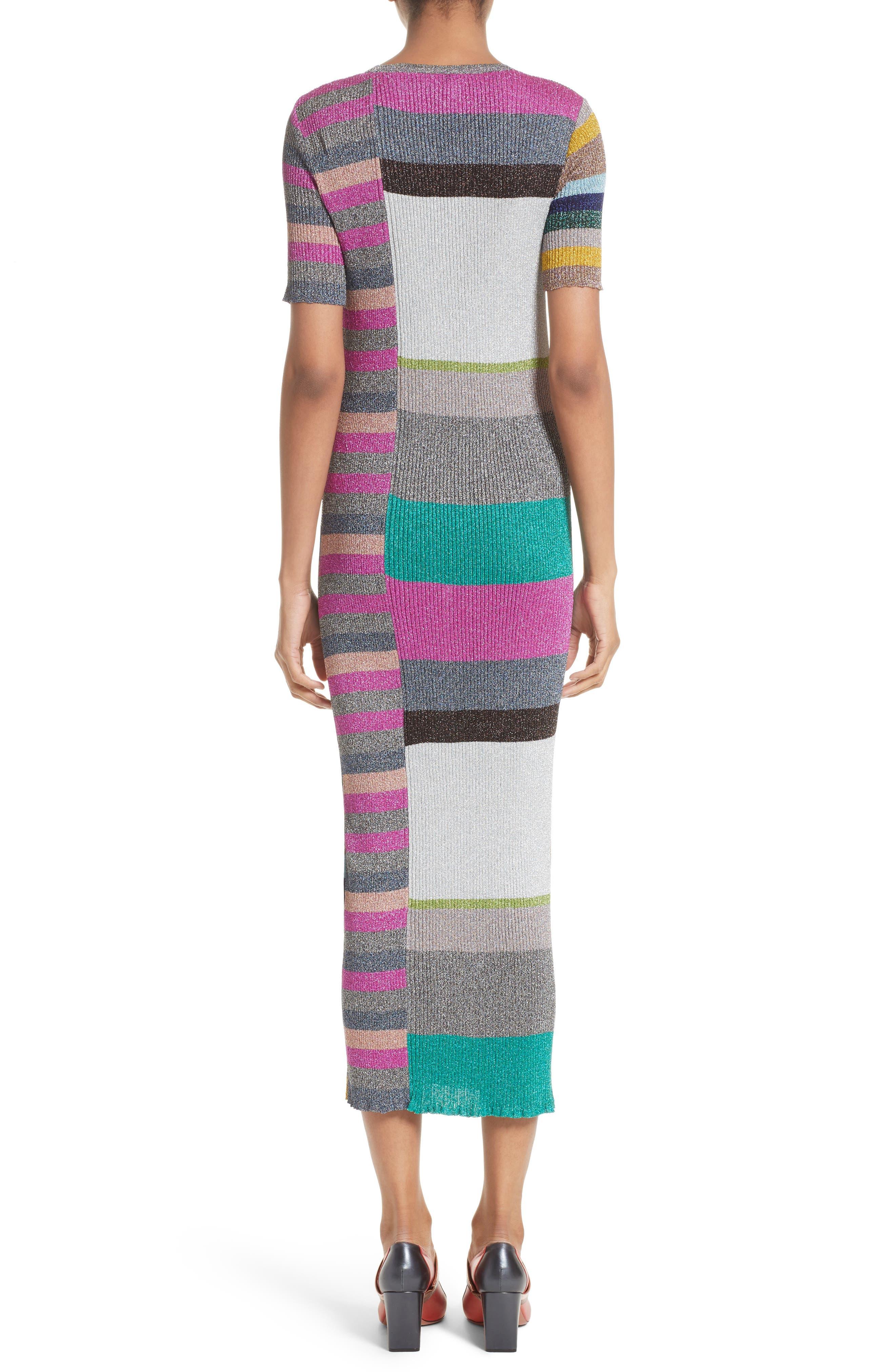 Metallic Stripe Rib Knit Dress,                             Alternate thumbnail 2, color,                             001