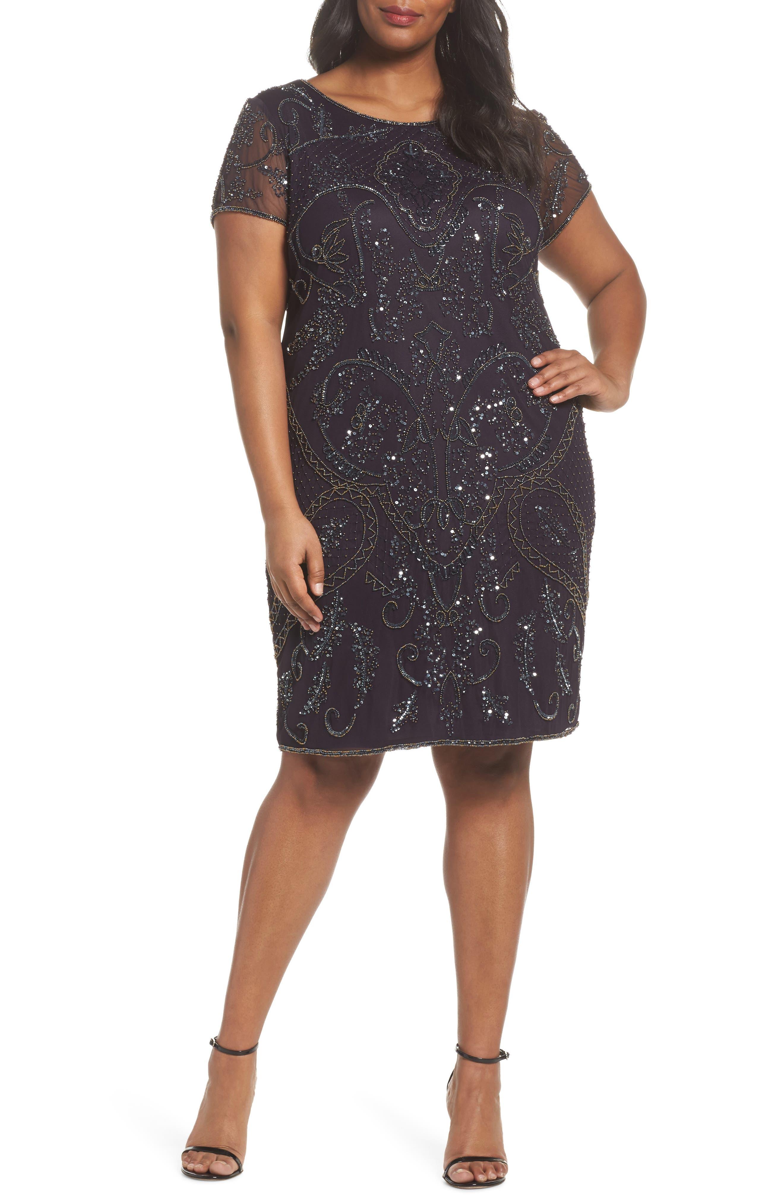 Embellished Mesh Sheath Dress,                             Main thumbnail 1, color,                             930