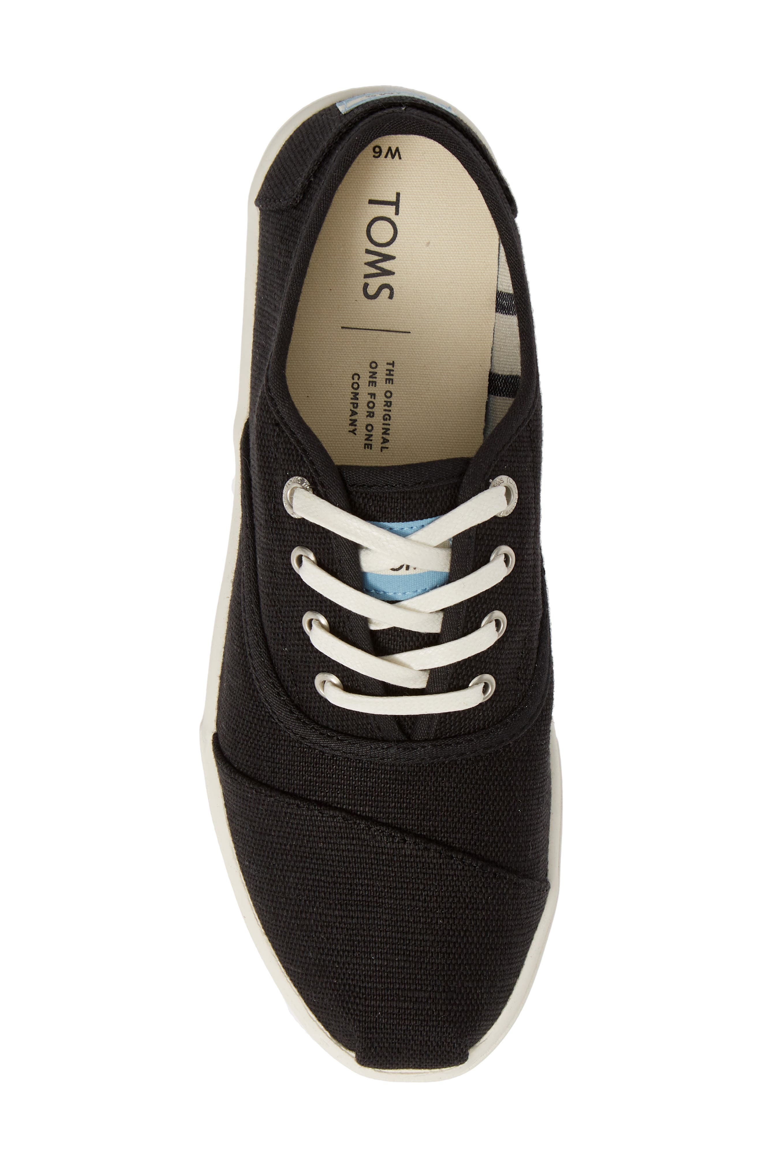 TOMS,                             Cordones Sneaker,                             Alternate thumbnail 5, color,                             BLACK HERITAGE CANVAS