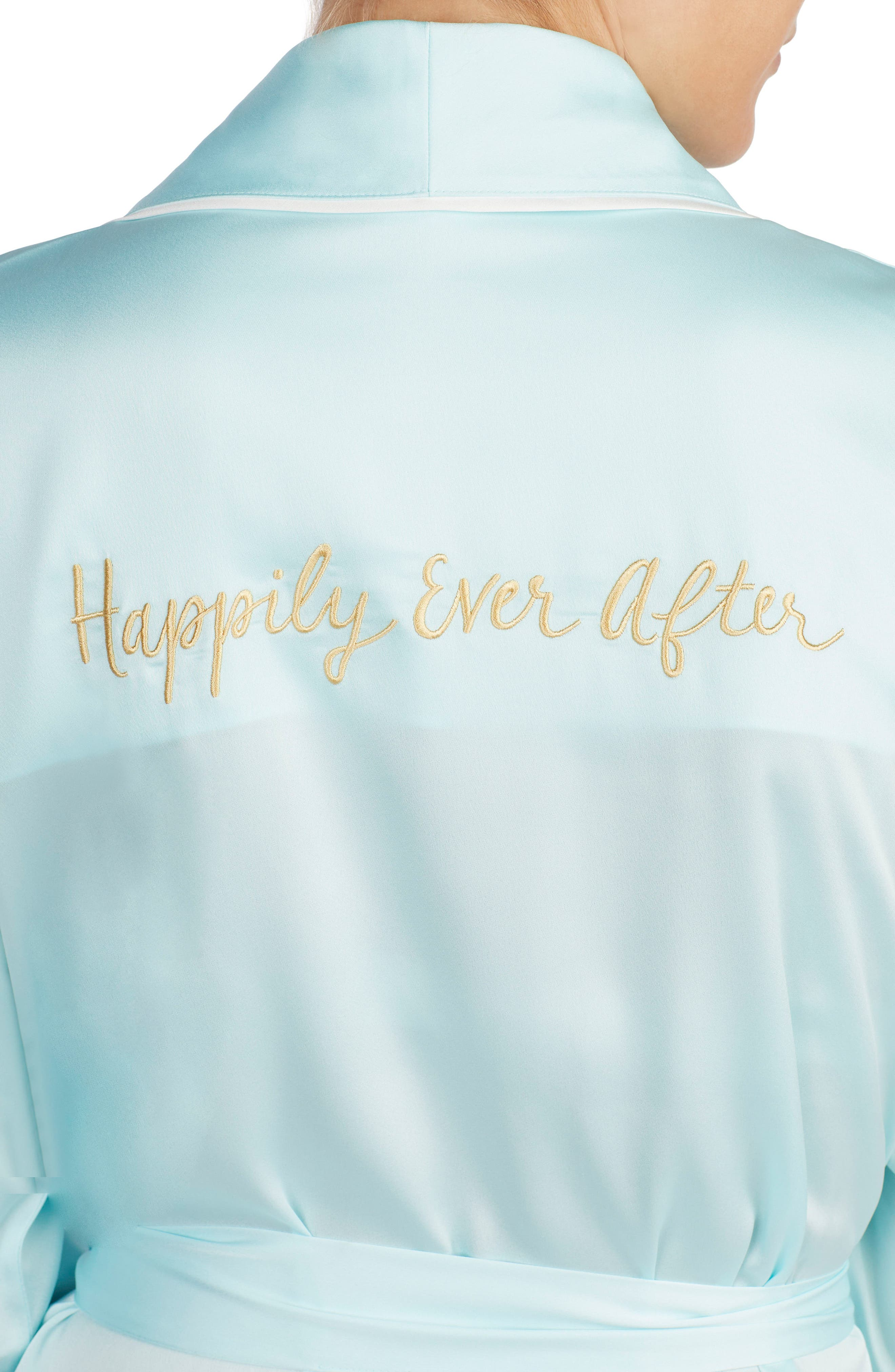 happily ever after charmeuse short robe,                             Alternate thumbnail 4, color,                             405