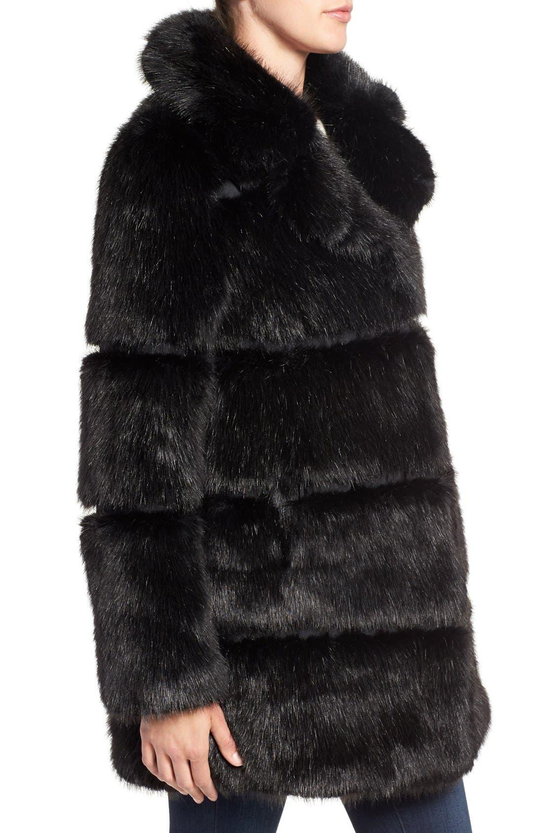 grooved faux fur coat,                             Alternate thumbnail 4, color,                             001