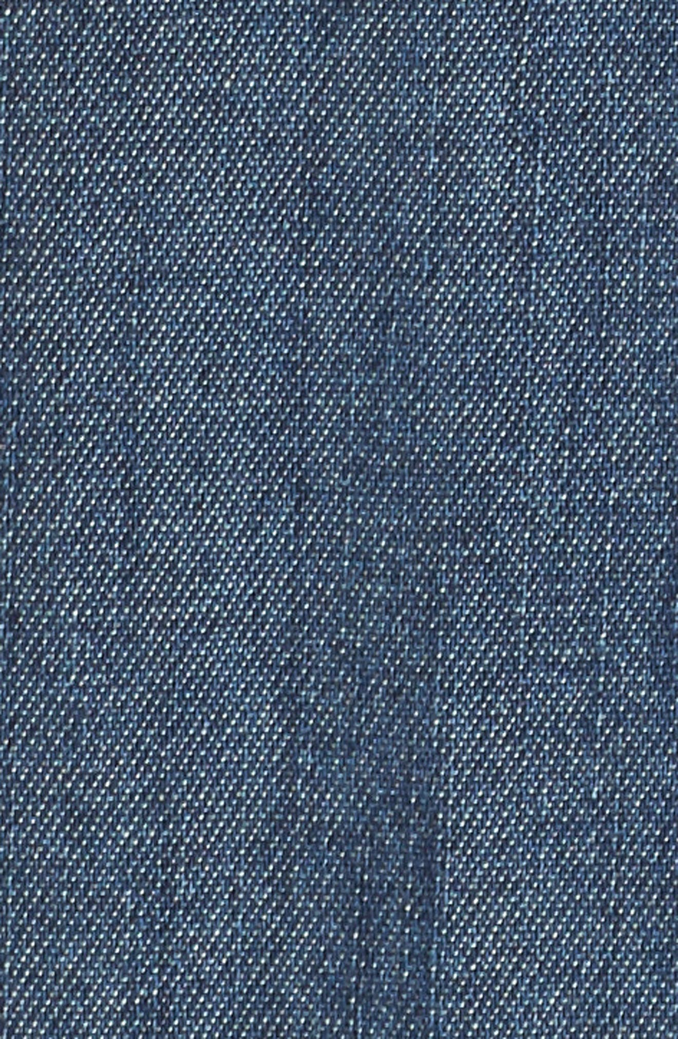 Joanna Ruffle Denim Shirt,                             Alternate thumbnail 5, color,                             412