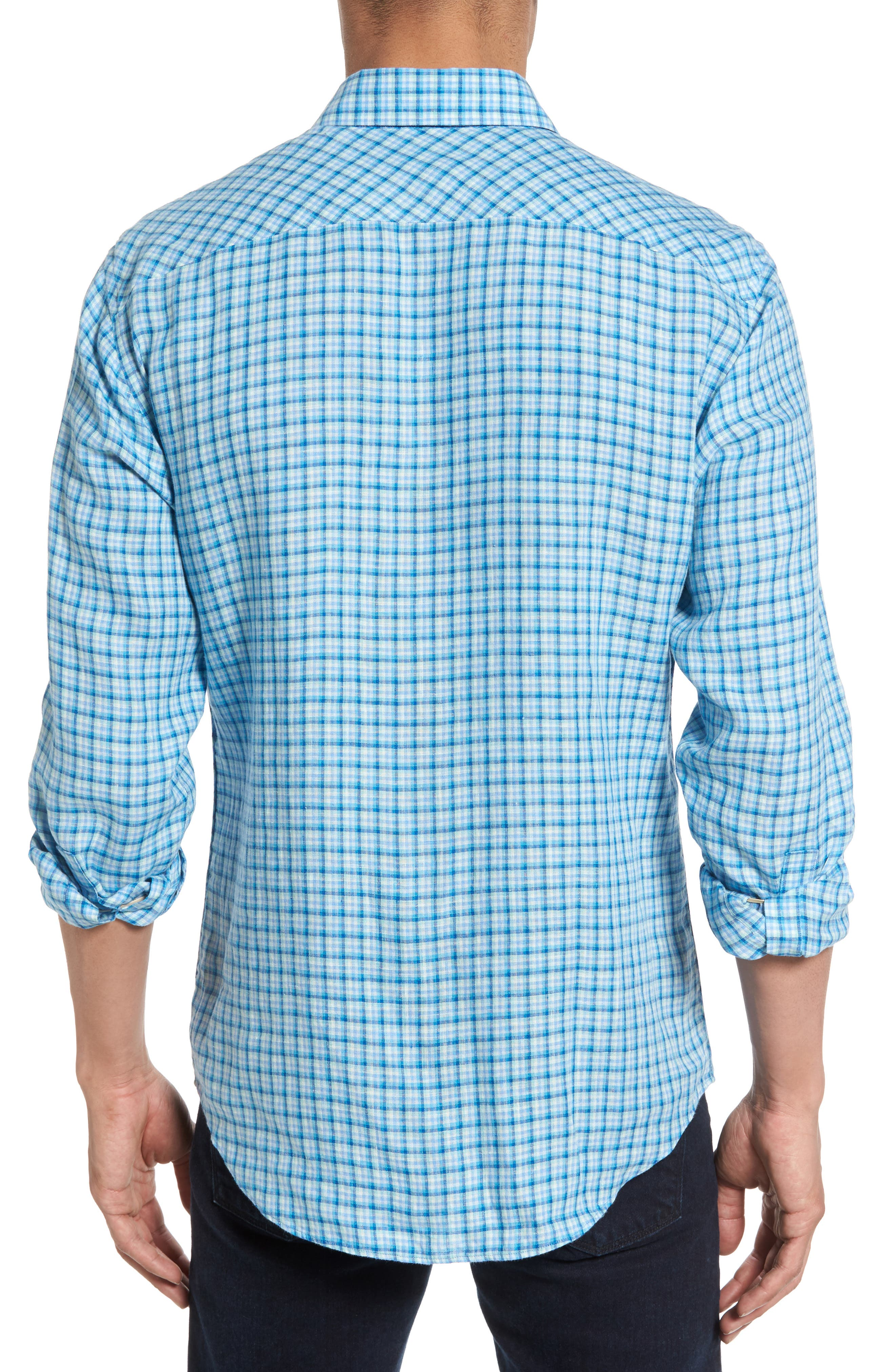 Althoff Plaid Linen Sport Shirt,                             Alternate thumbnail 3, color,