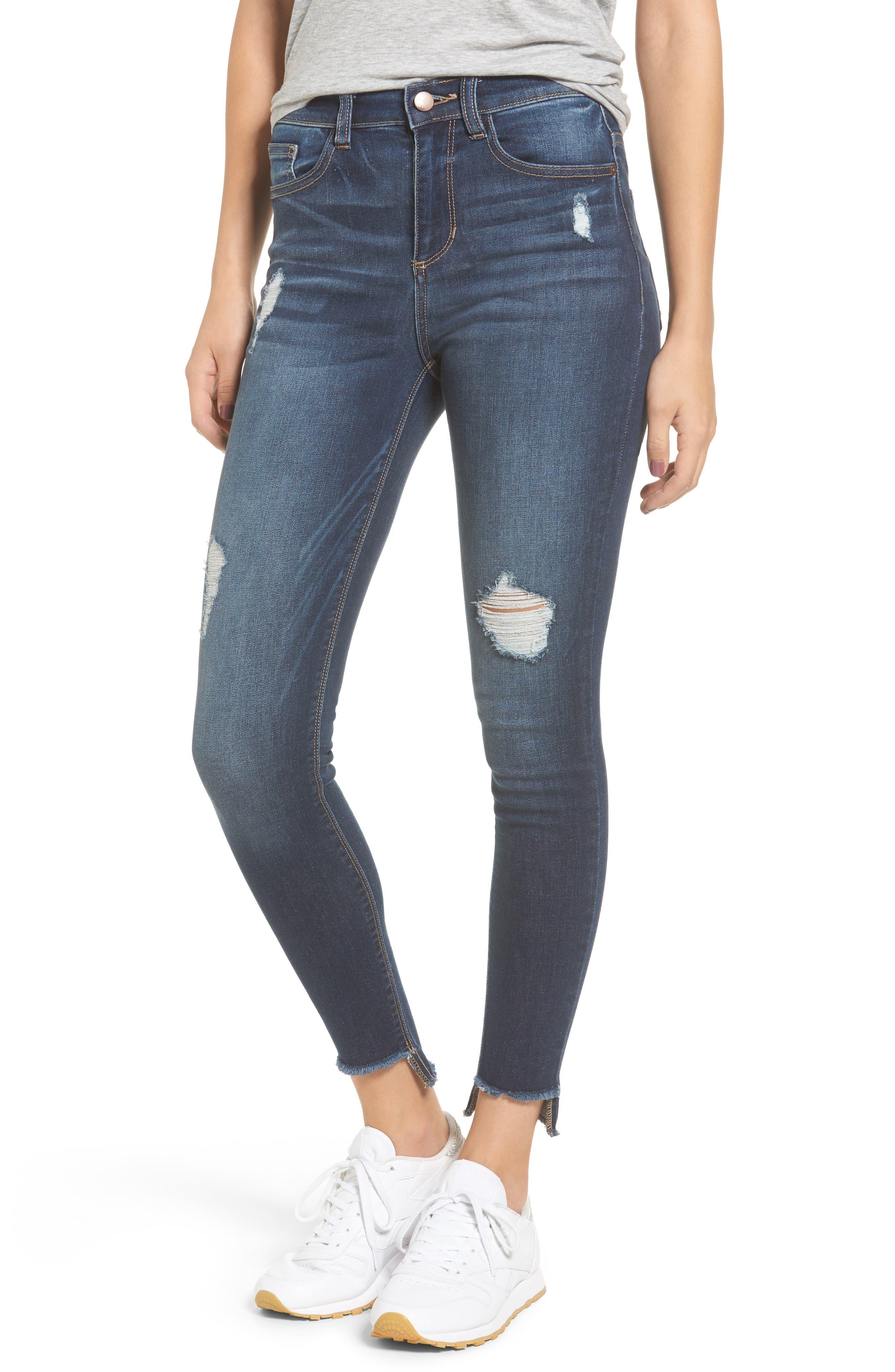 High Waist Step Hem Skinny Jeans,                             Main thumbnail 1, color,                             401