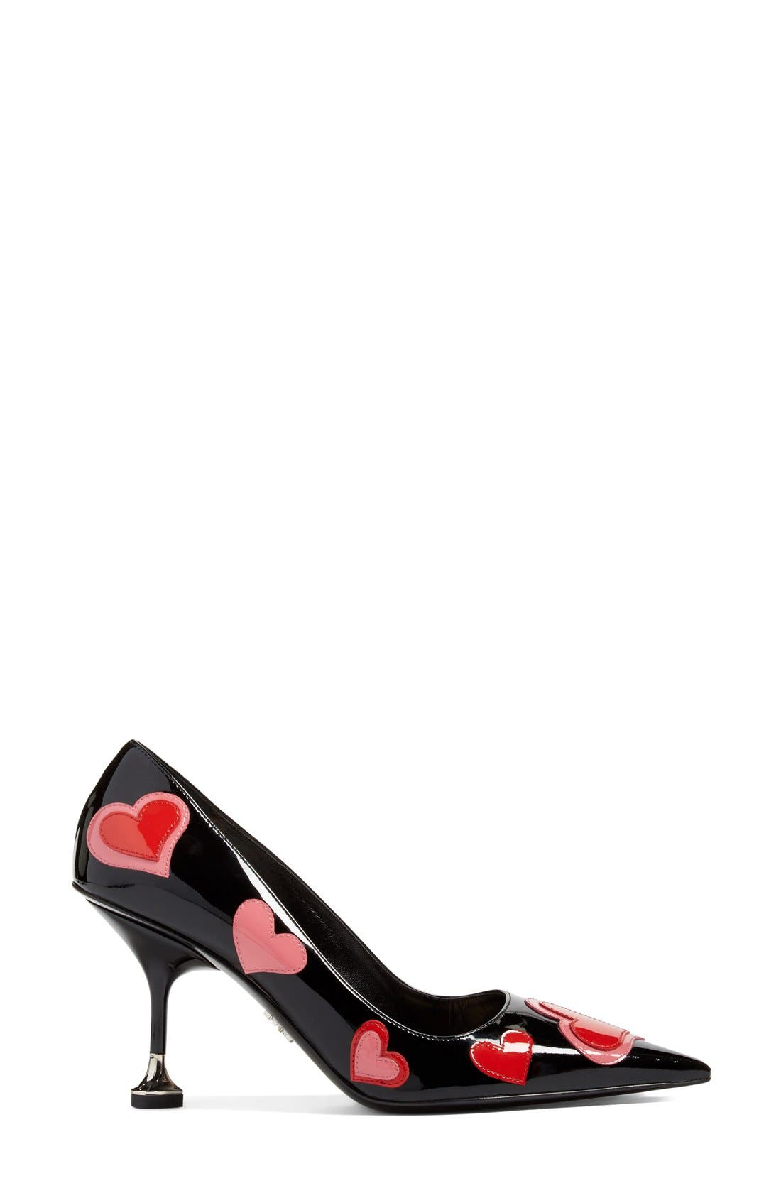 Heart Pointy Toe Pump,                             Alternate thumbnail 6, color,                             001