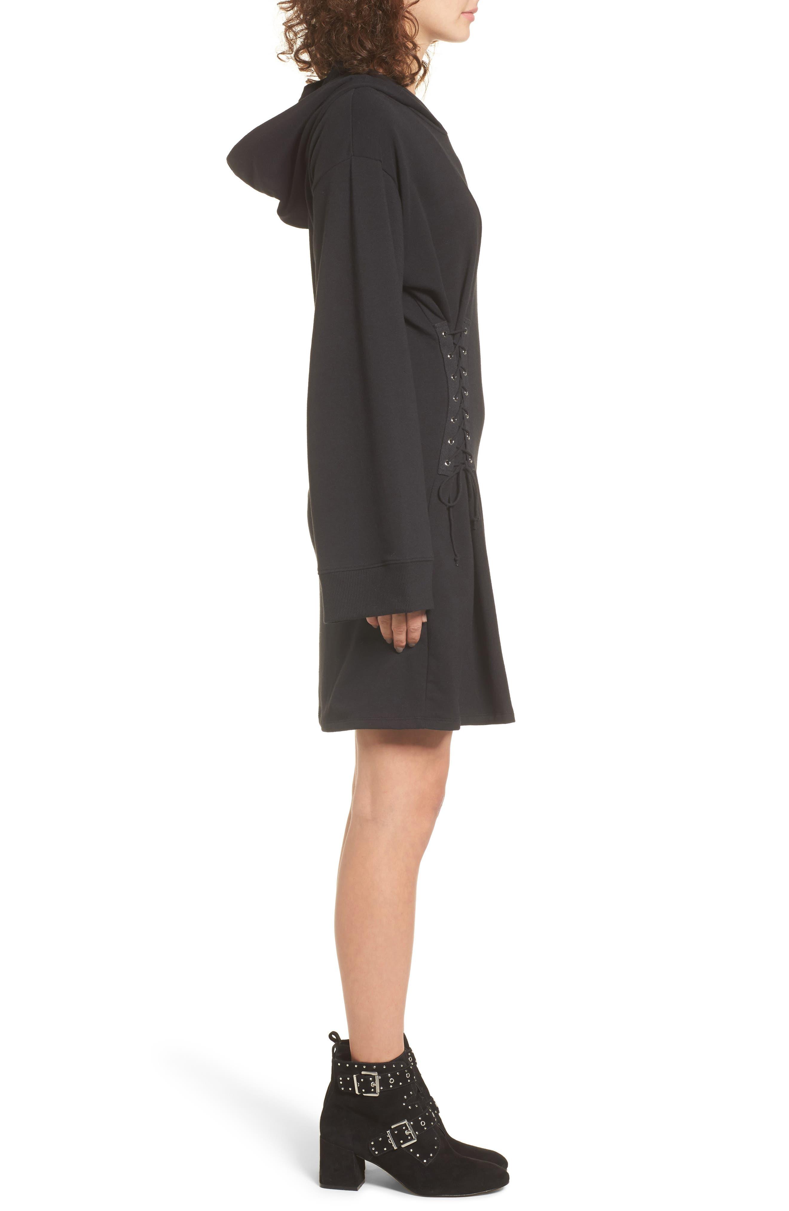 Corset Hoodie Sweatshirt Dress,                             Alternate thumbnail 3, color,                             001