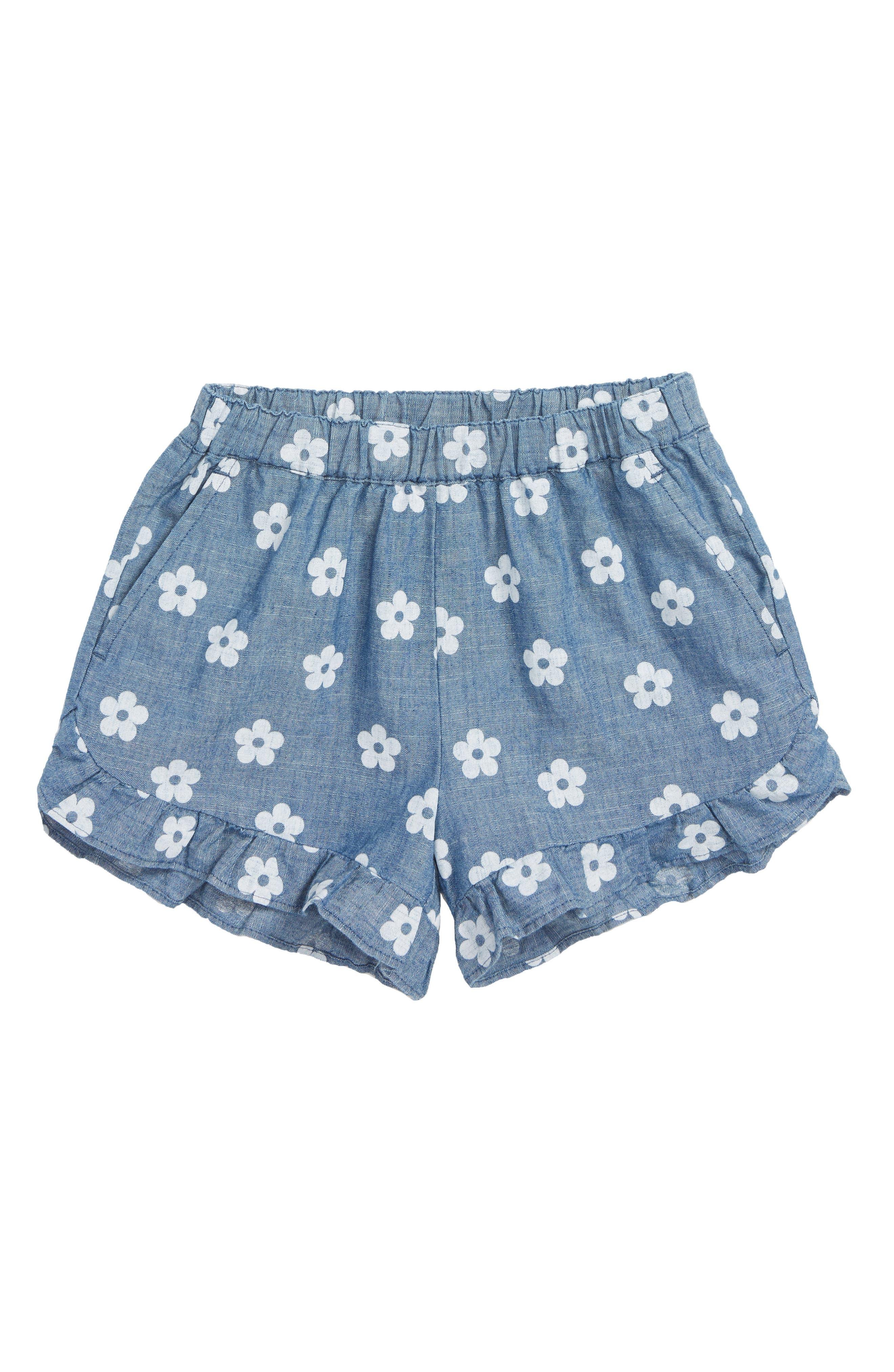 Lexi Daisy Print Ruffle Shorts,                             Main thumbnail 1, color,                             CHAMBRAY WHITE