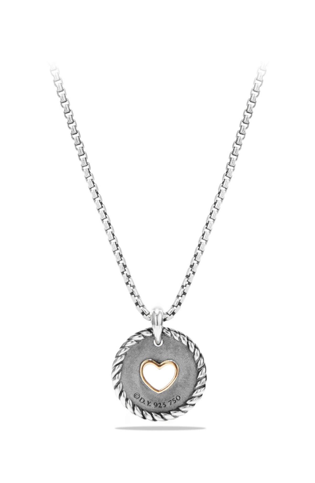 'Cable Collectibles' Heart Charm with Diamonds,                             Alternate thumbnail 3, color,                             SILVER/ GOLD