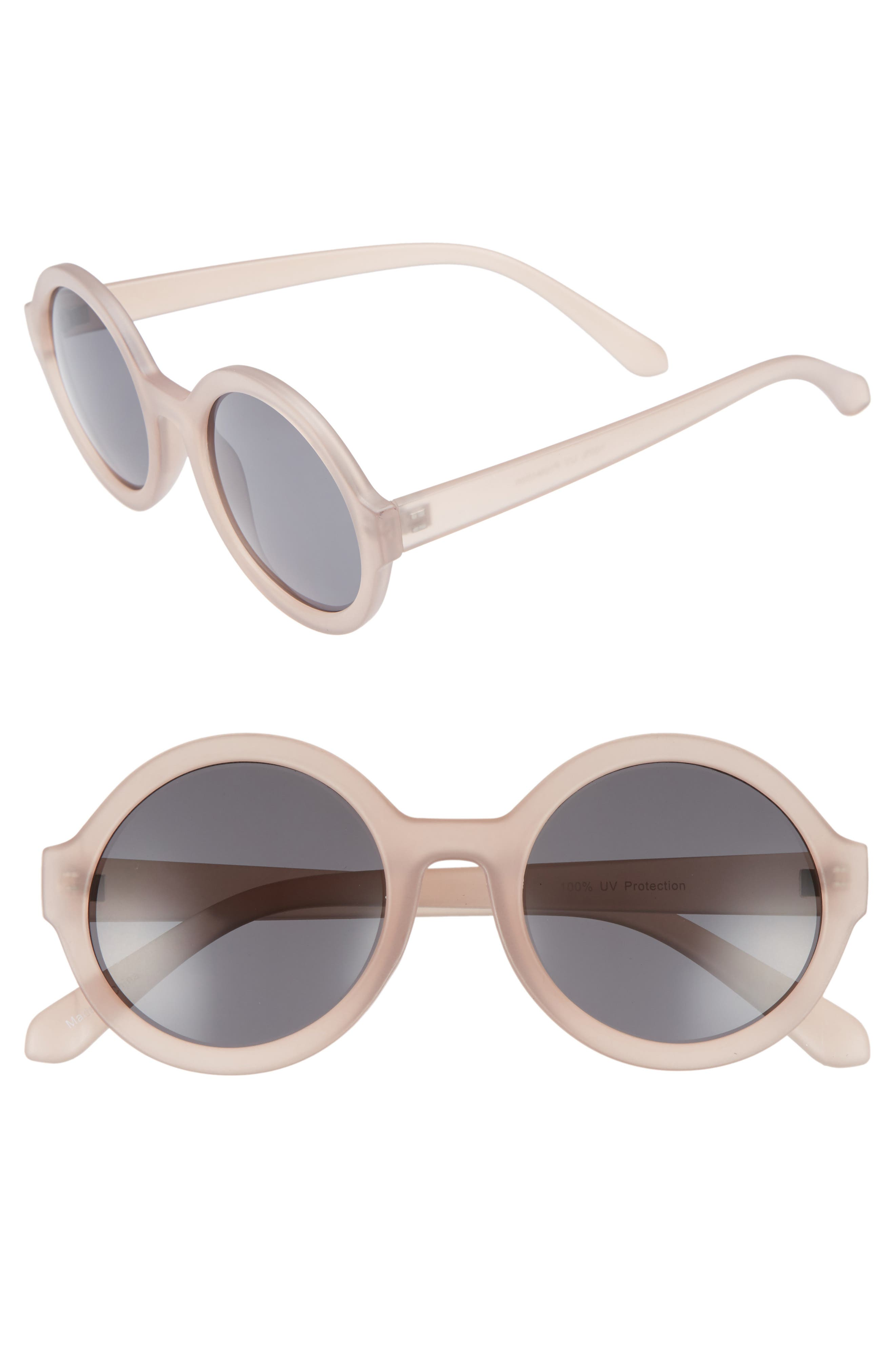 50mm Round Sunglasses,                             Main thumbnail 1, color,                             650