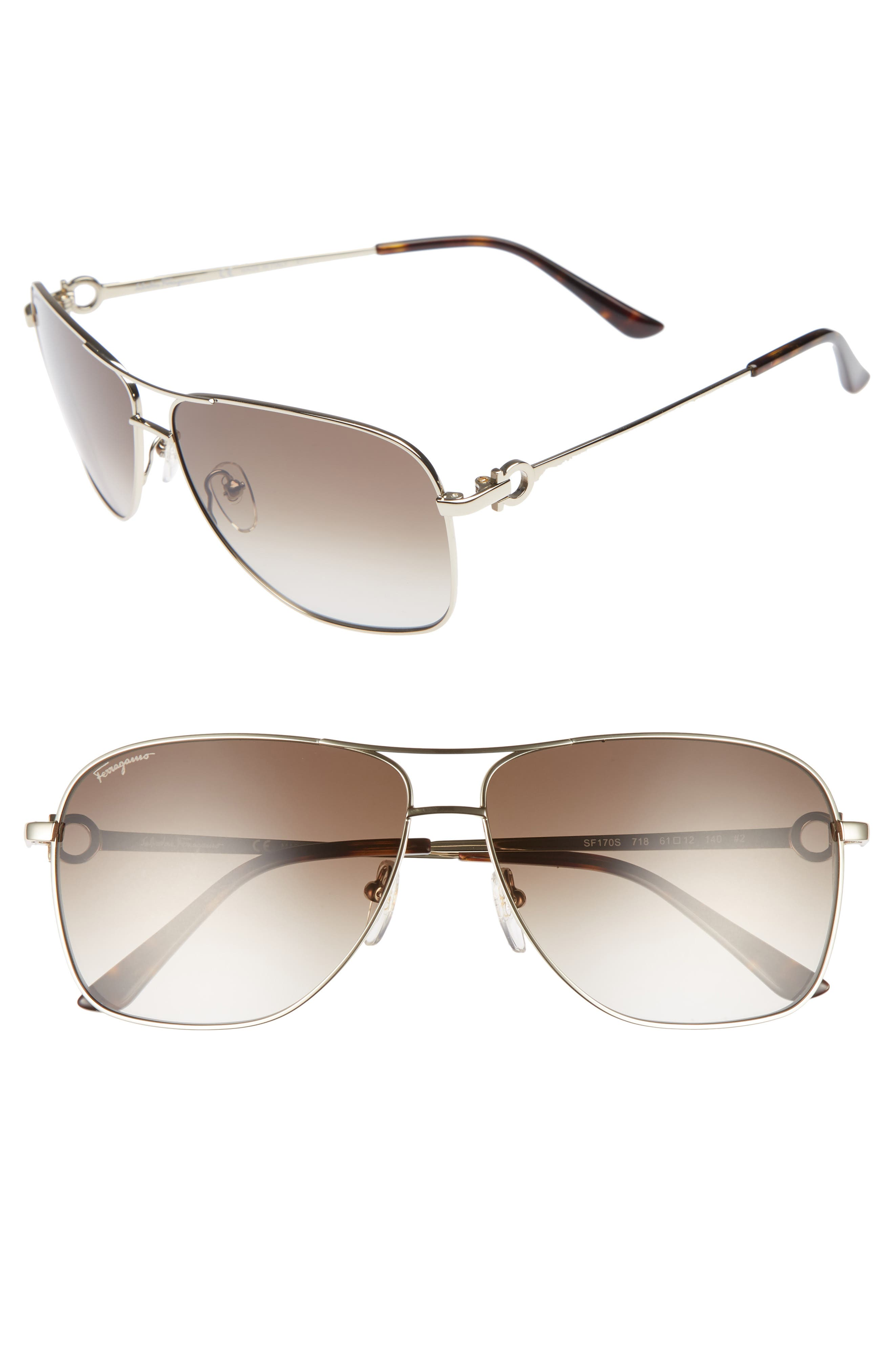 Gancio 61mm Aviator Sunglasses,                         Main,                         color, SHINY GOLD