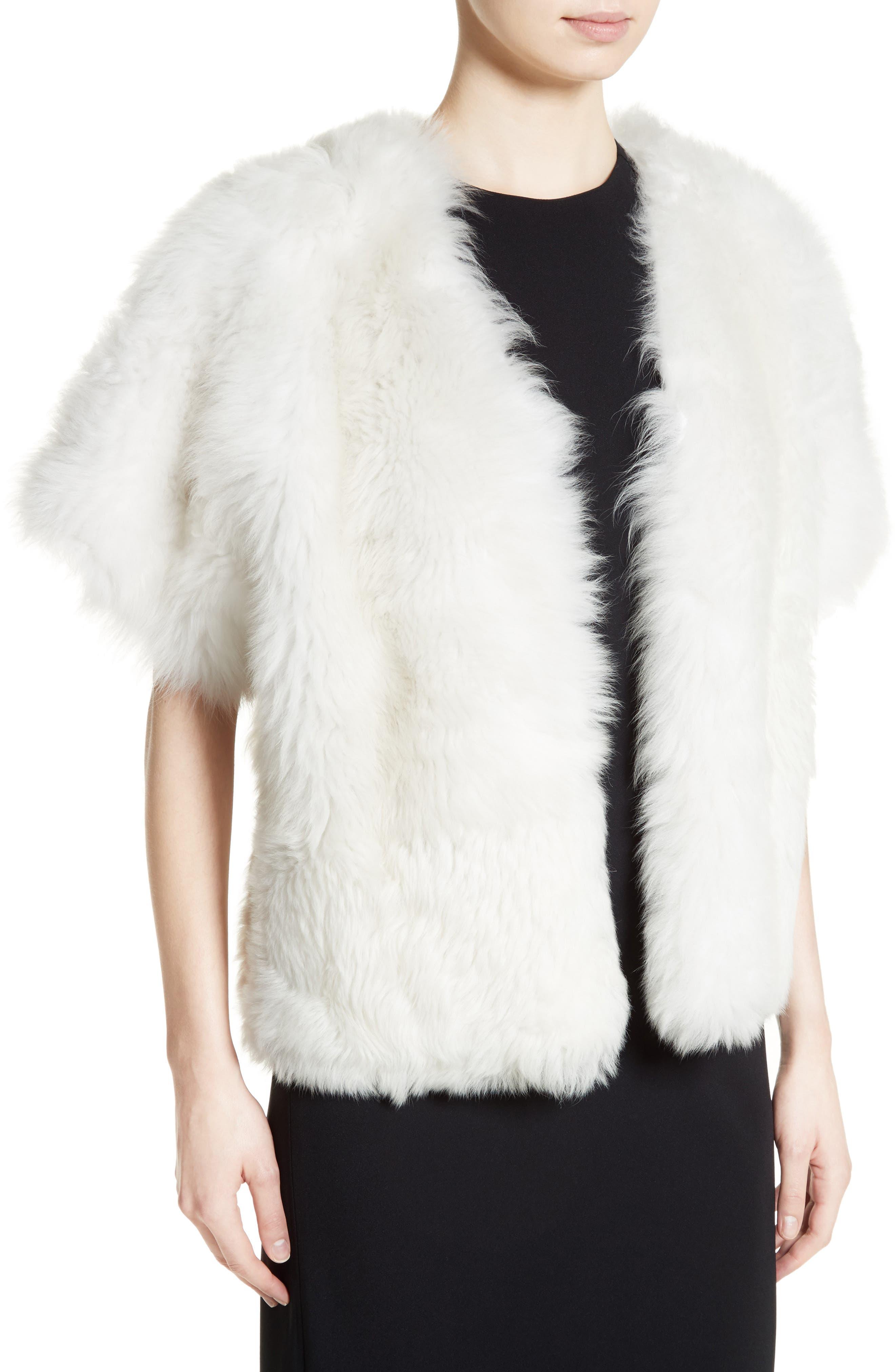 Fiorigi Genuine Lamb Fur Bolero,                             Alternate thumbnail 4, color,                             100