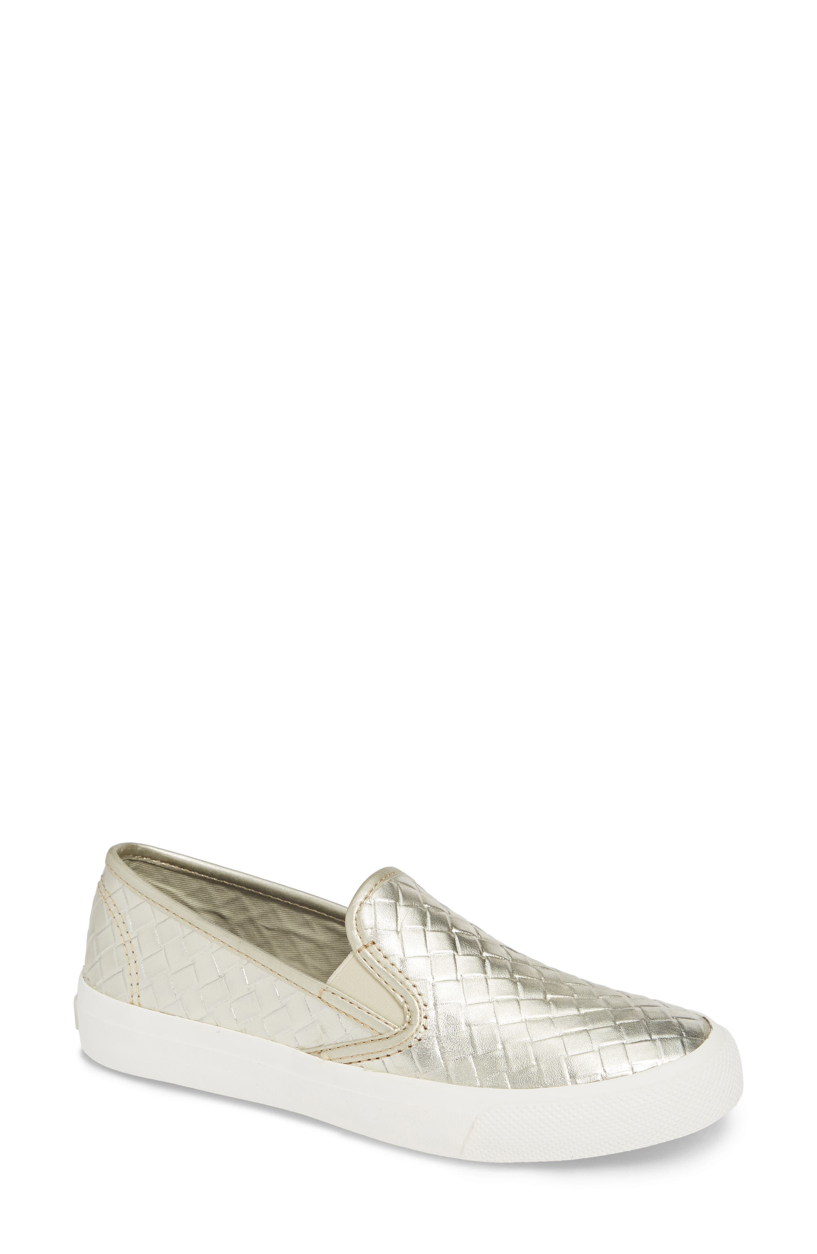 Seaside Embossed Weave Slip-On Sneaker,                         Main,                         color, PLATINUM LEATHER