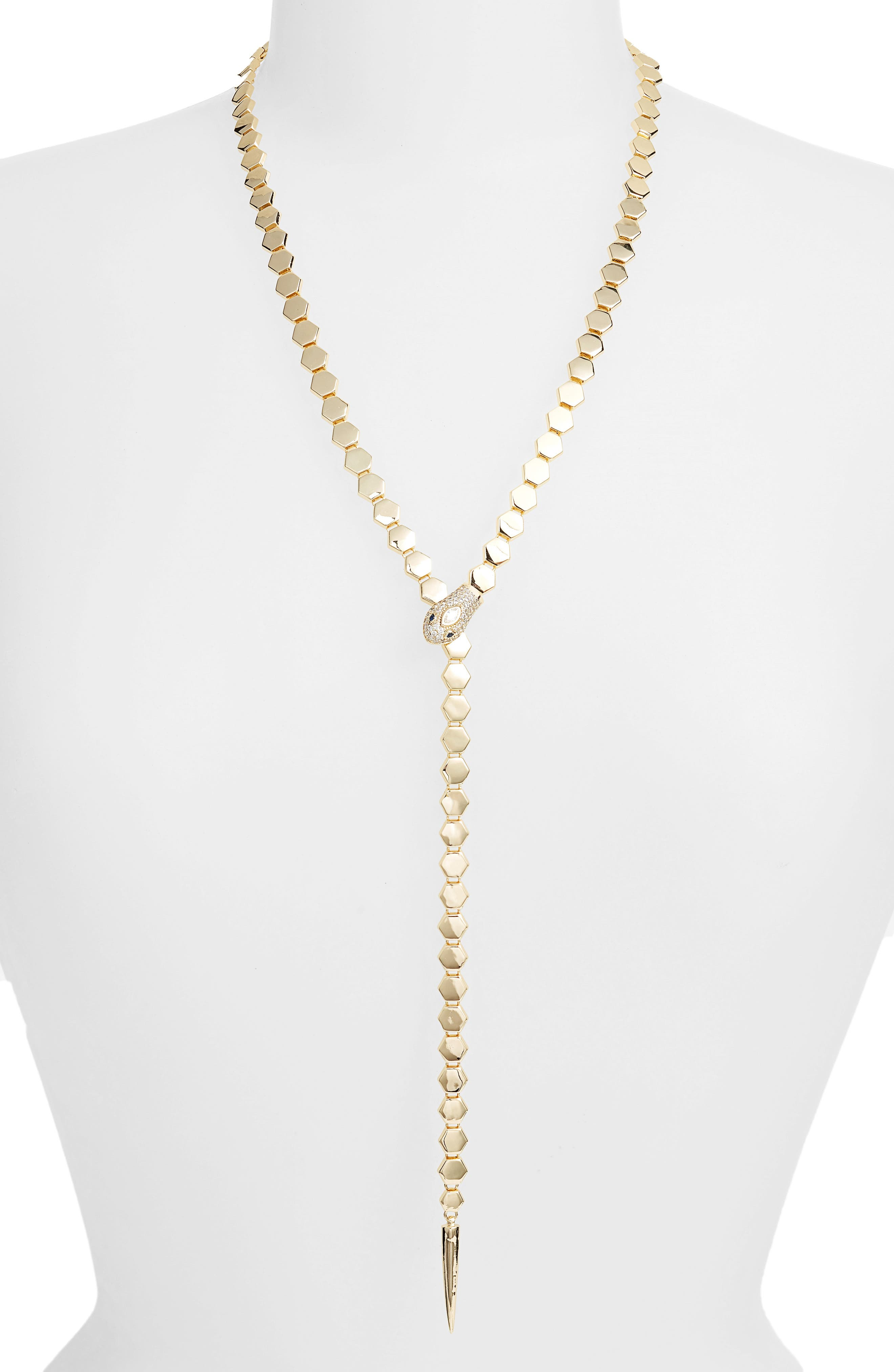 Snake Chain Y-Necklace,                             Main thumbnail 1, color,                             710