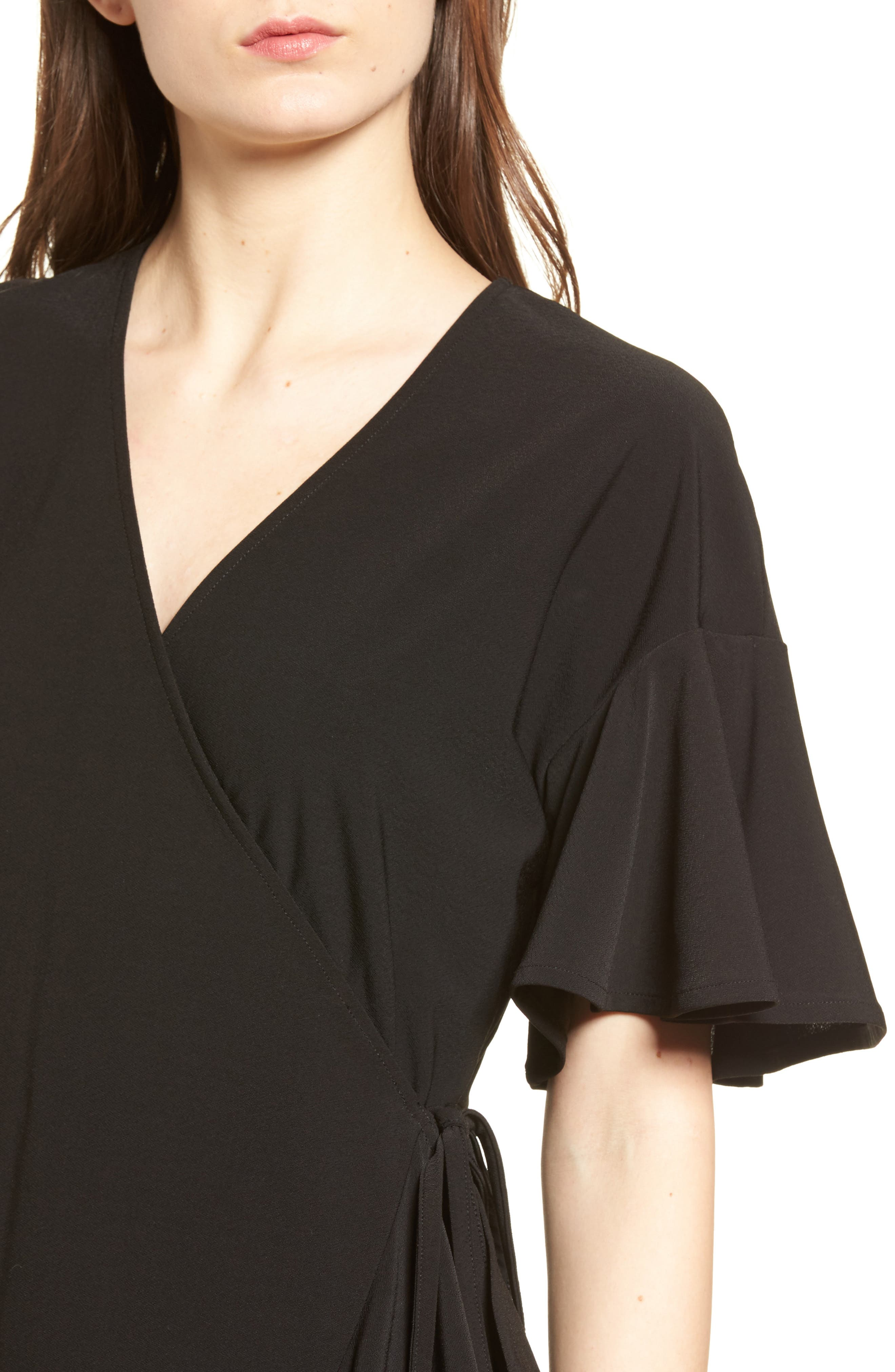 Flounce Sleeve Wrap Dress,                             Alternate thumbnail 4, color,                             001