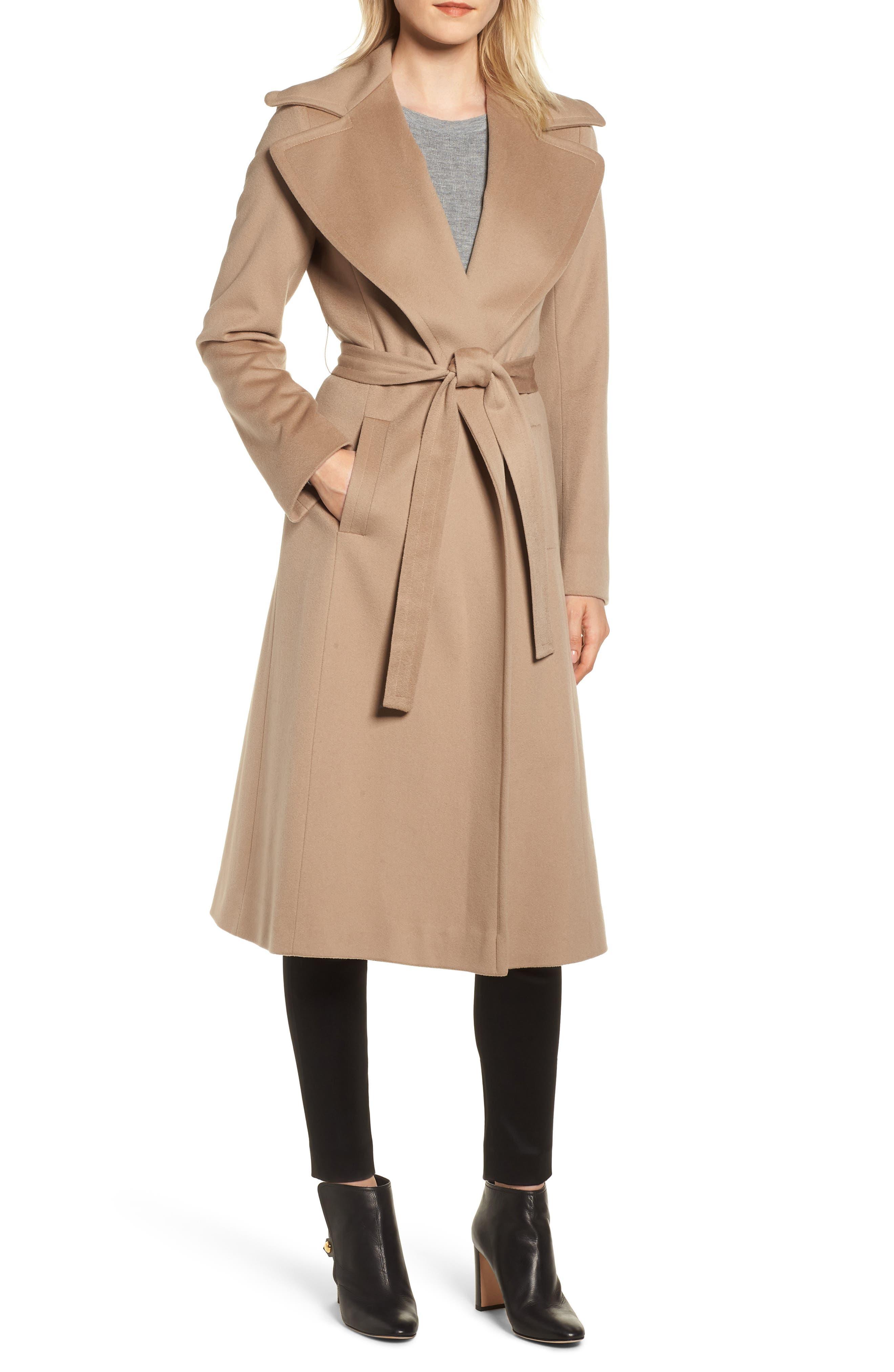 FLEURETTE Loro Piana Wool Wrap Coat, Main, color, CAMEL