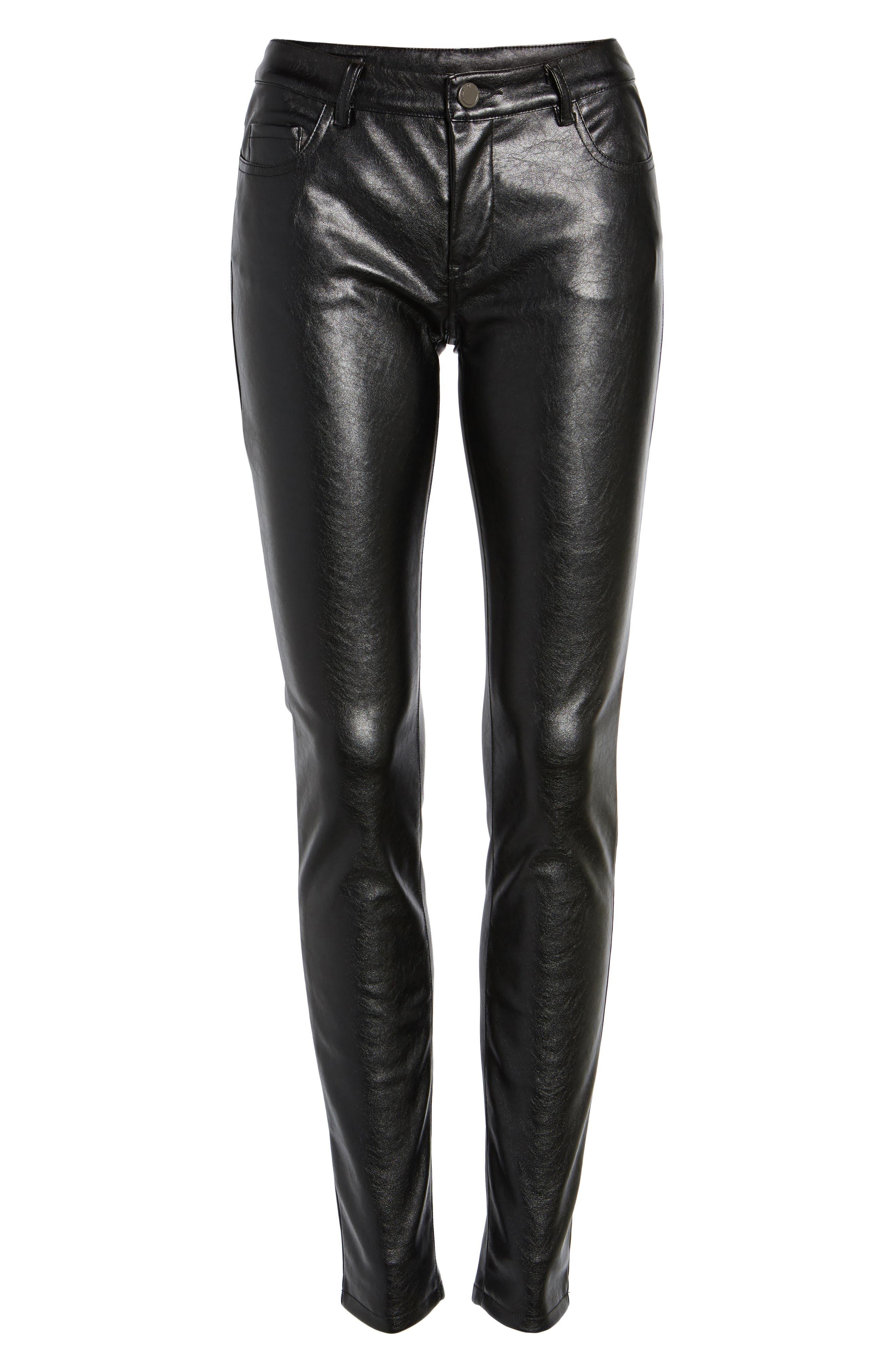 Skinny Classique Faux Leather Jeans,                             Alternate thumbnail 6, color,                             001