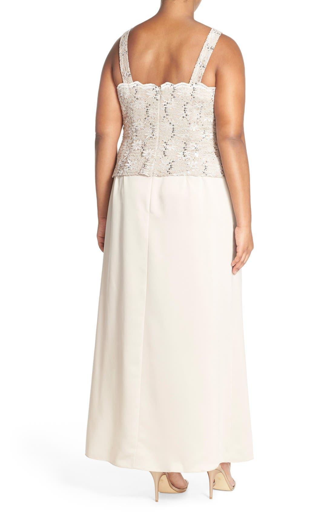 Alex Evening A-Line Gown & Lace Jacket,                             Alternate thumbnail 11, color,