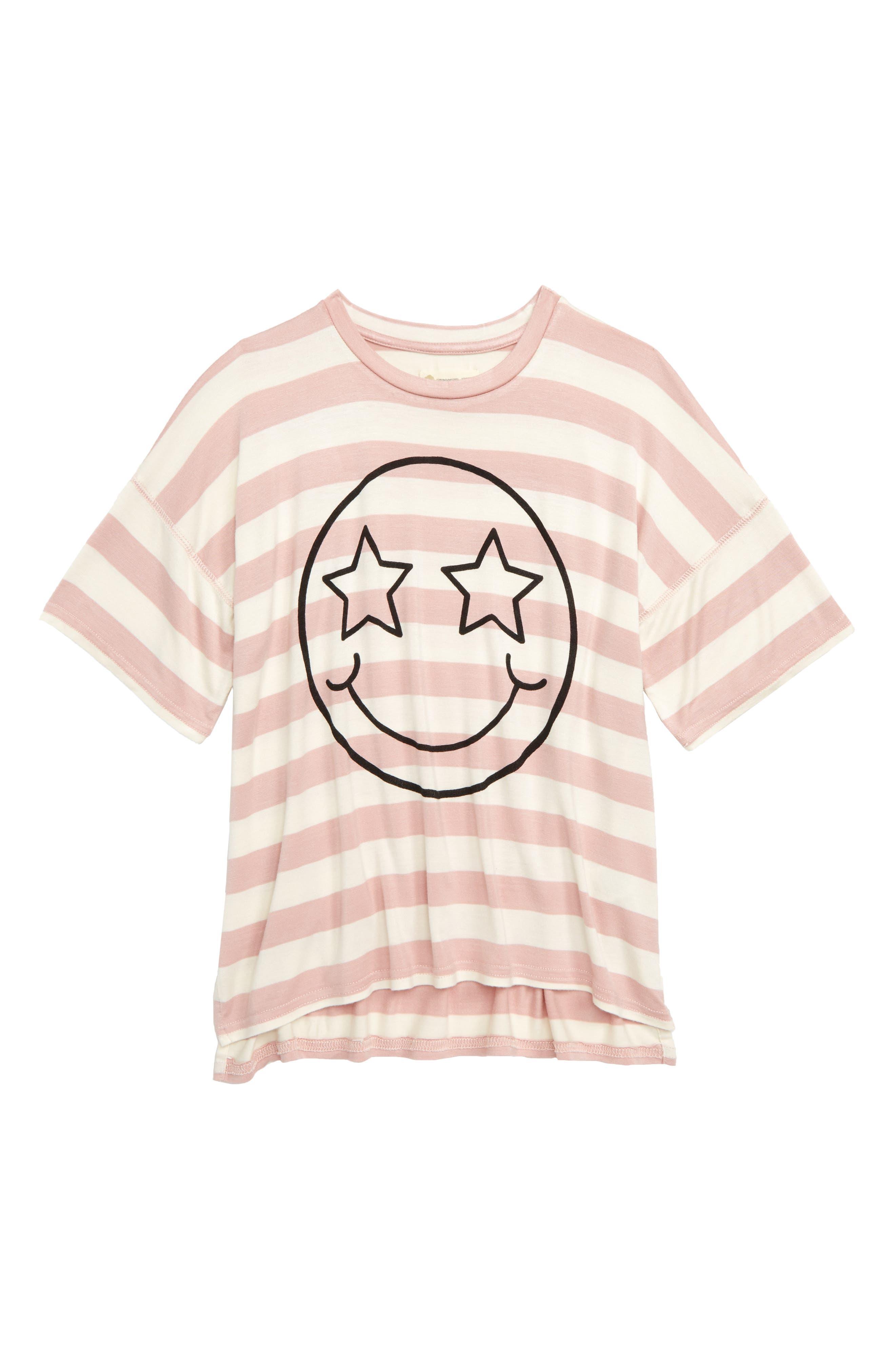 Smiley Star Tee,                             Main thumbnail 1, color,                             PINK PEACHSKIN SMILEY FACE