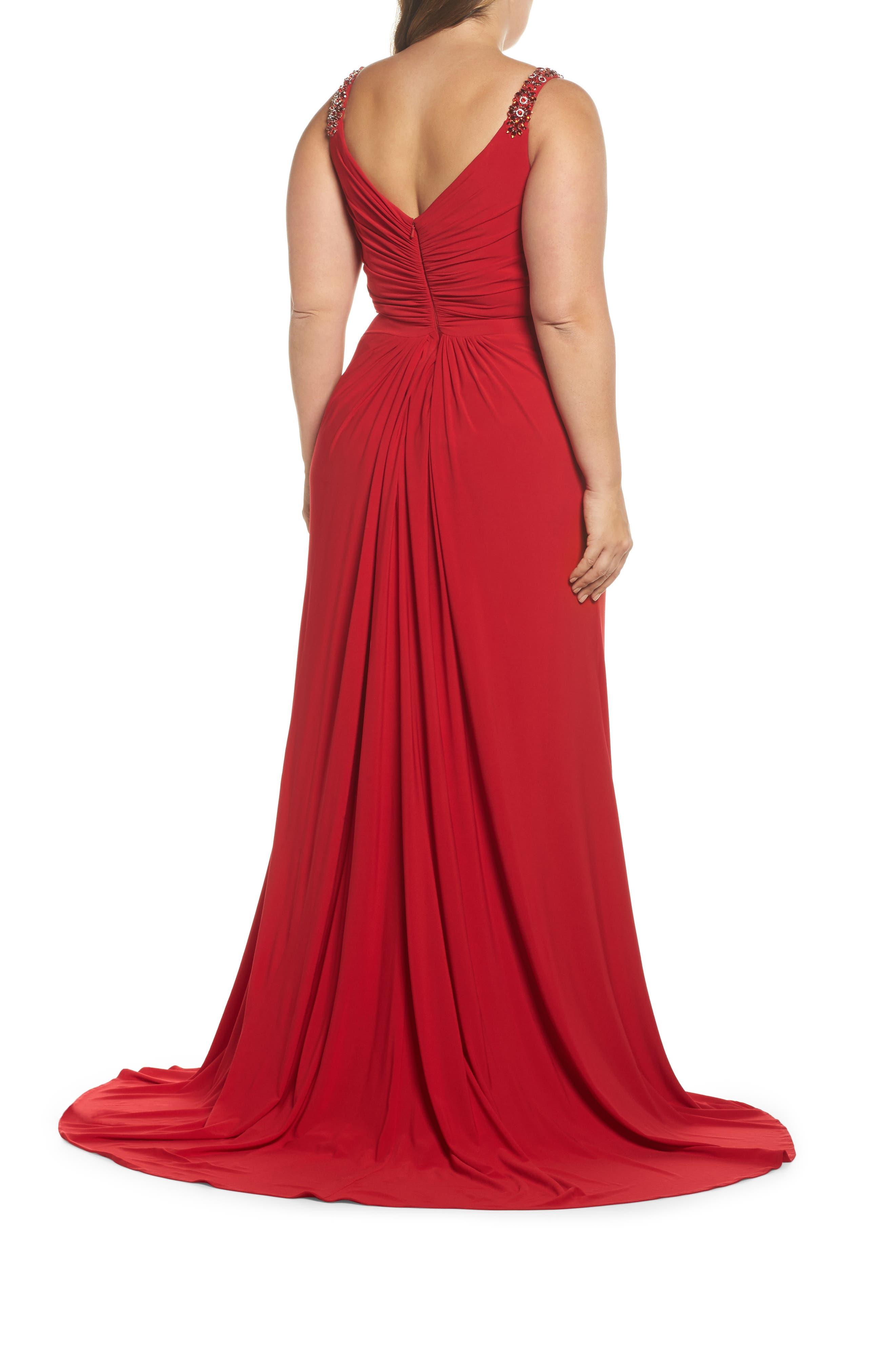 Embellished Shoulder Jersey Gown,                             Alternate thumbnail 4, color,
