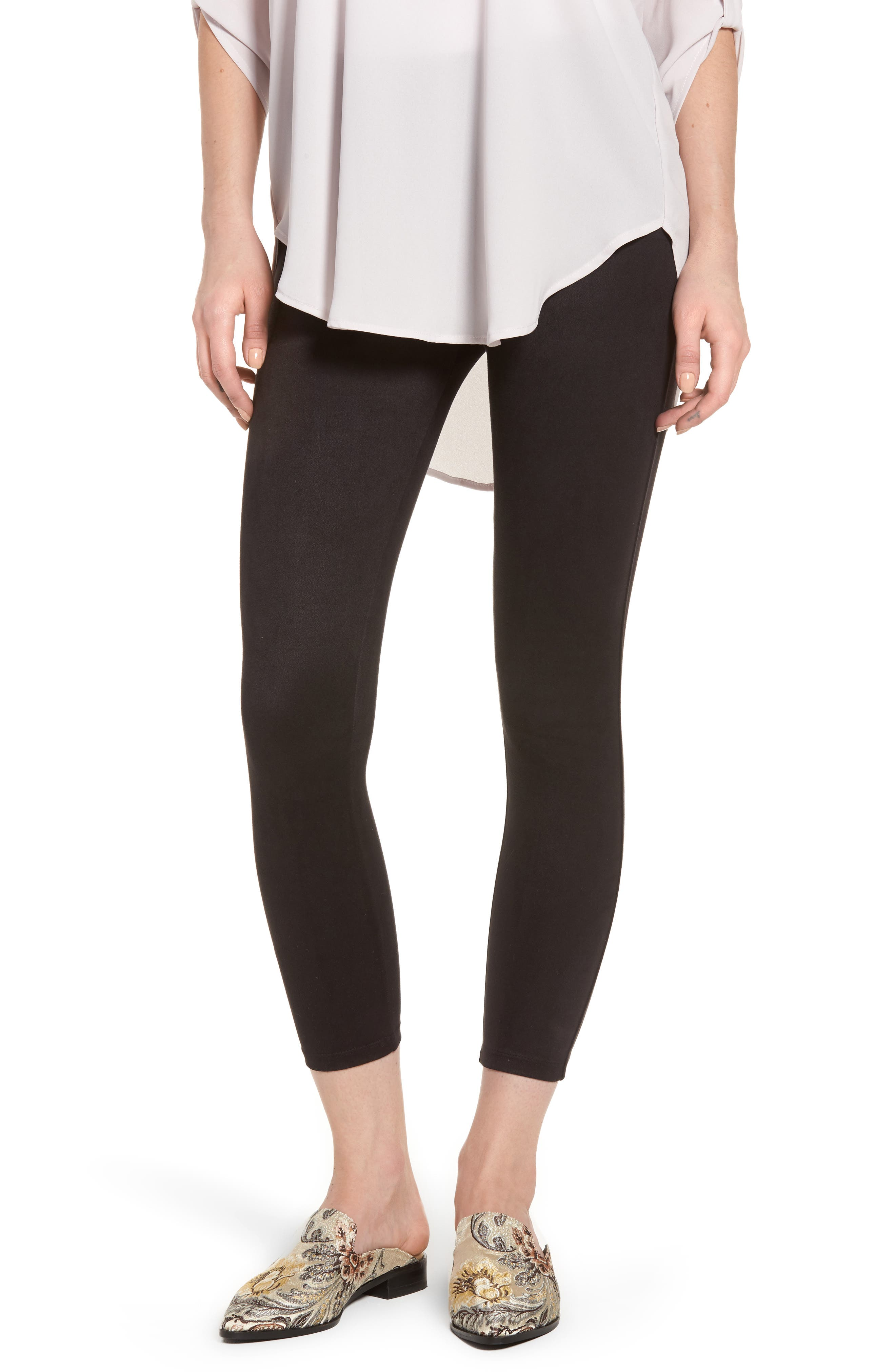 Elliot High Waist Crop Faux Suede Leggings,                         Main,                         color,