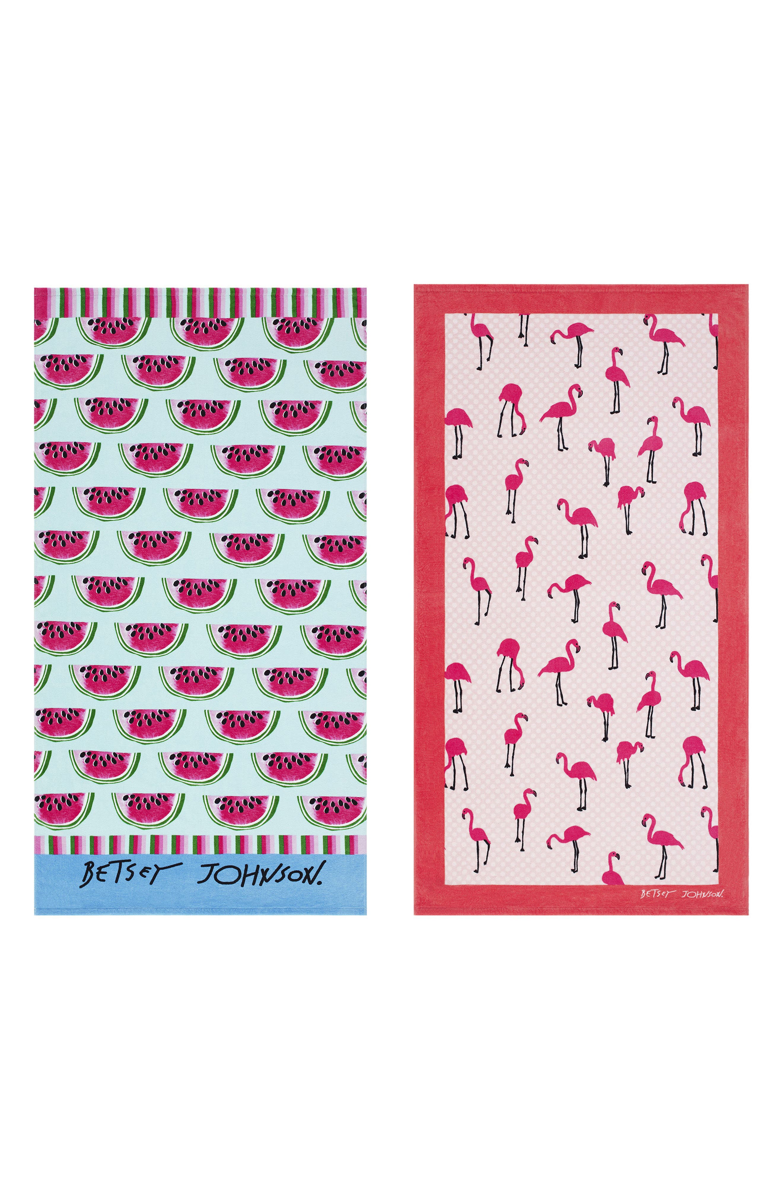 Watermelon Picnic/Flamingo Strut Set of 2 Beach Towels,                         Main,                         color, 650