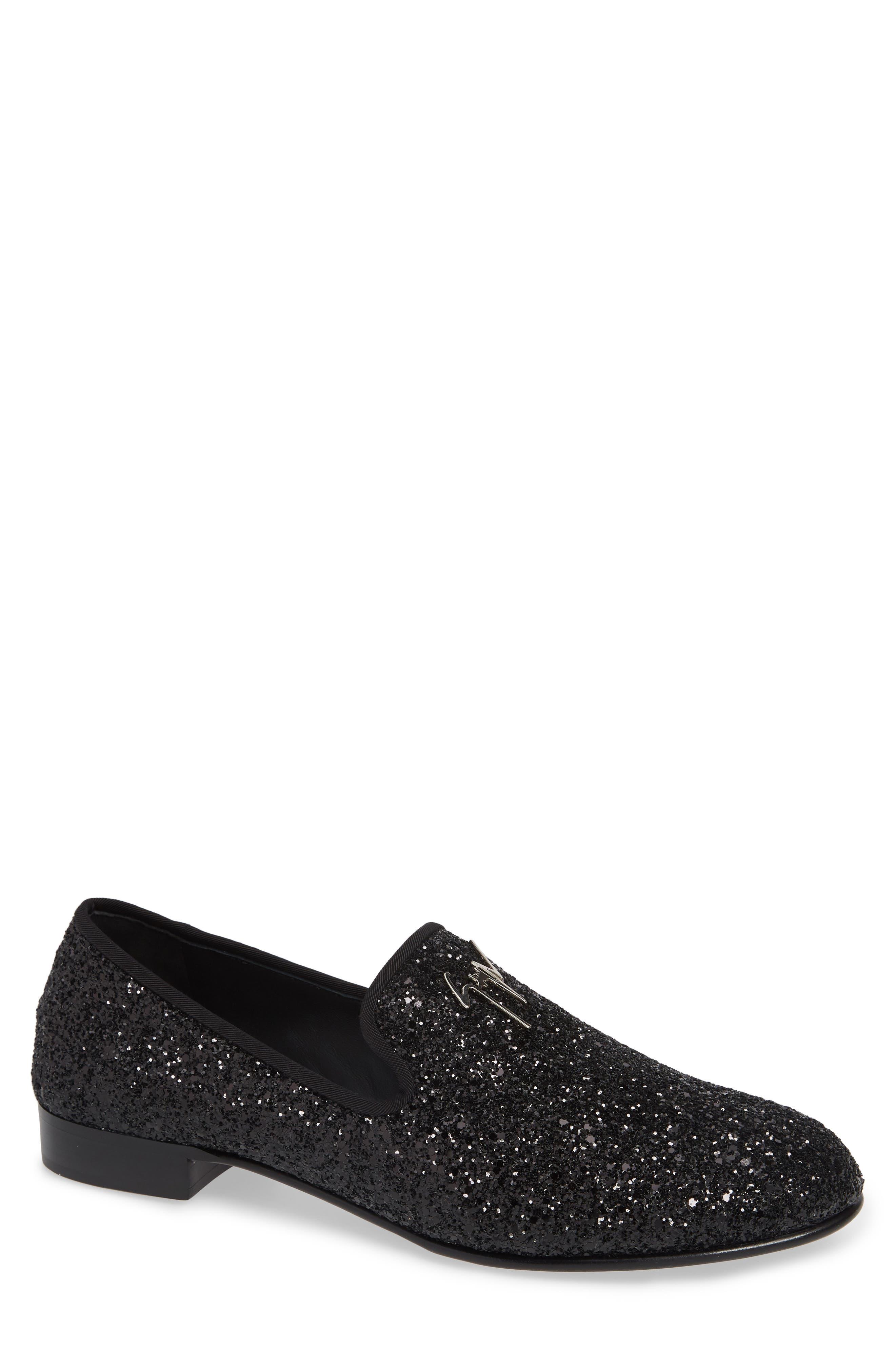 Glitter Encrusted Smoking Slipper, Main, color, BLACK