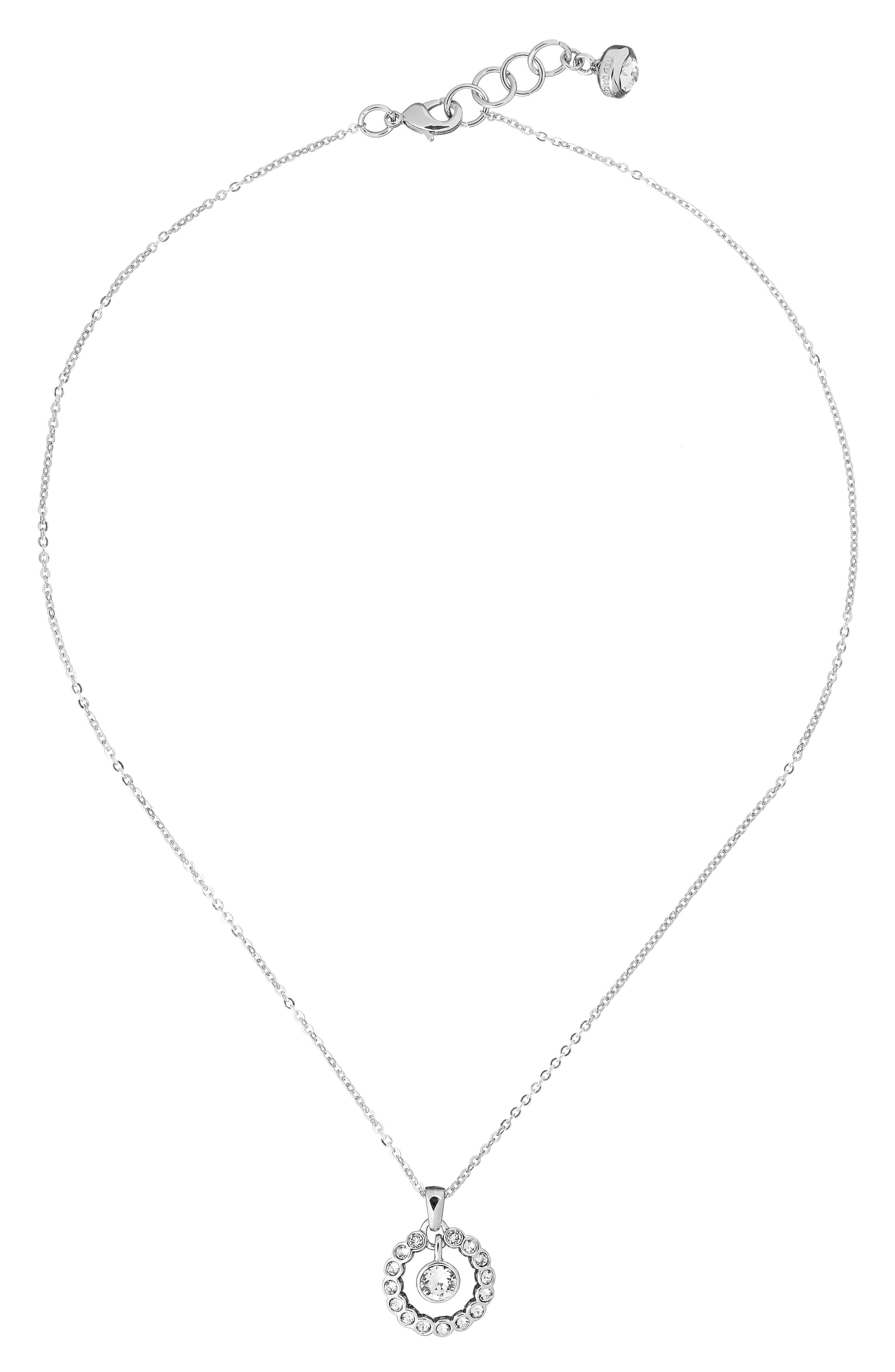 Crystal Circle Pendant Necklace,                             Alternate thumbnail 6, color,