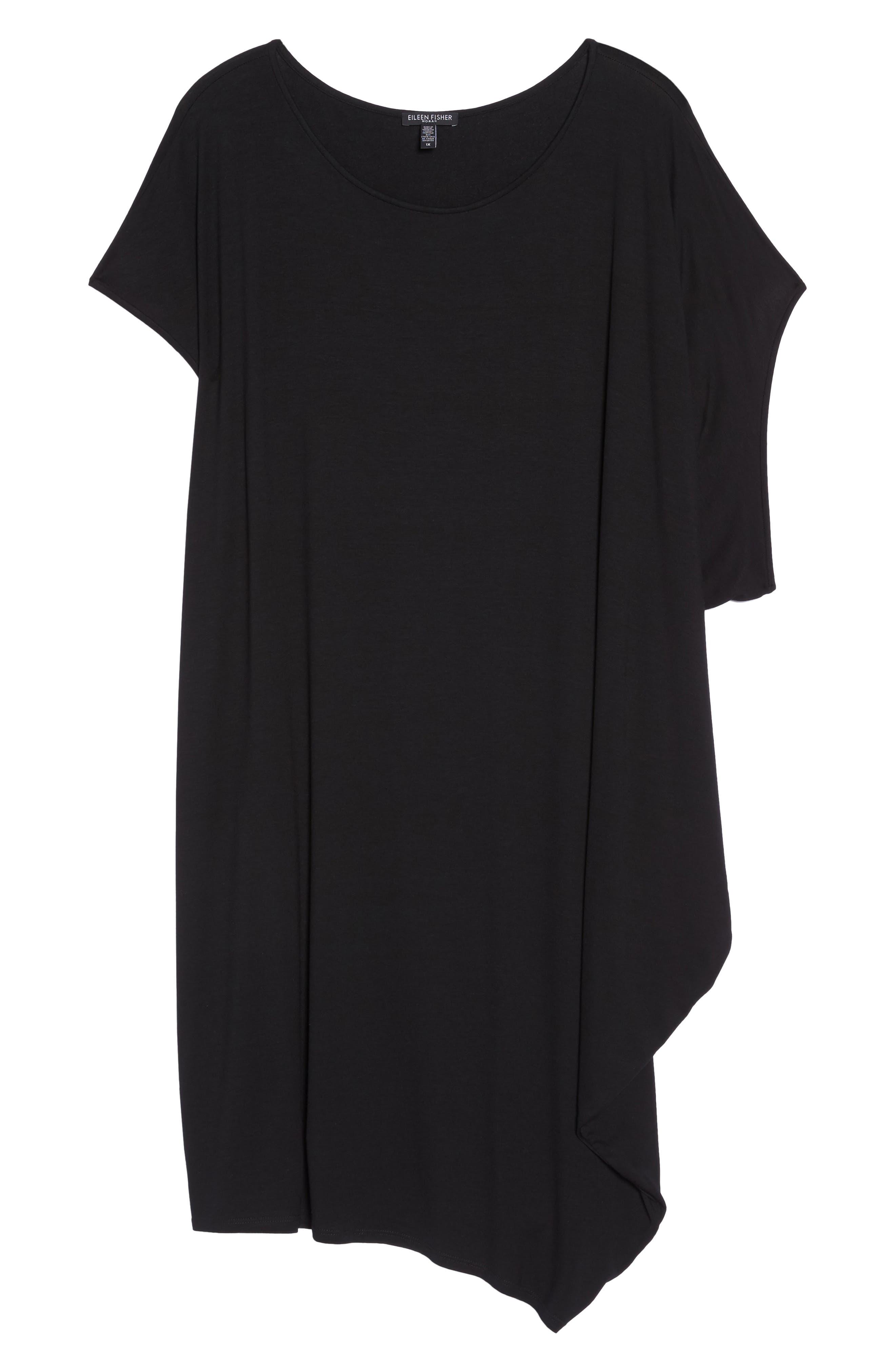 Asymmetrical Drape Jersey Dress,                             Alternate thumbnail 6, color,                             001