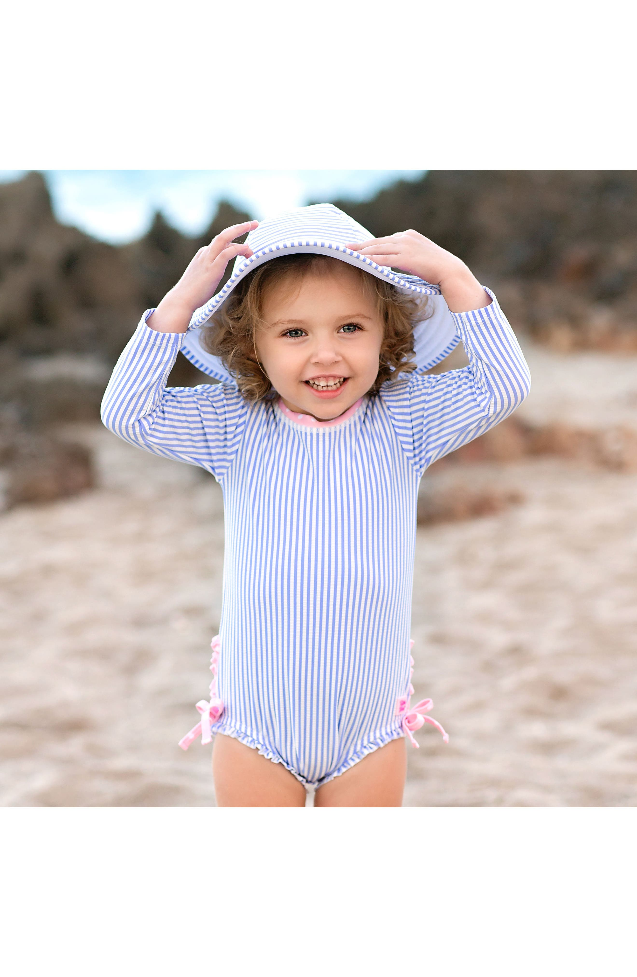 Seersucker One-Piece Rashguard Swimsuit & Hat Set,                             Alternate thumbnail 3, color,                             BLUE