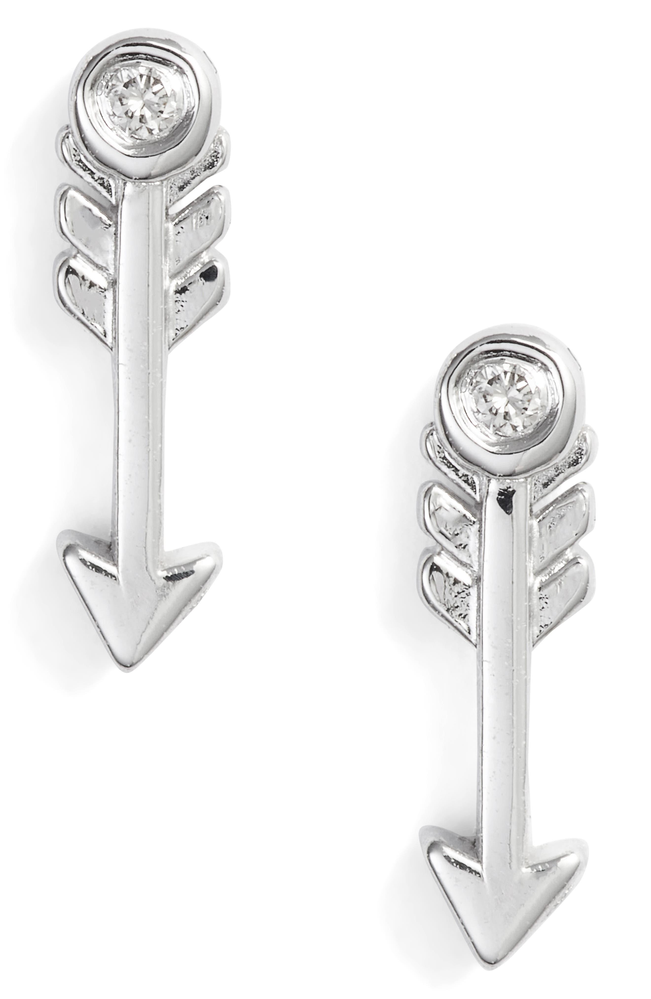 Diamond Arrow Stud Earrings,                             Alternate thumbnail 2, color,                             SILVER