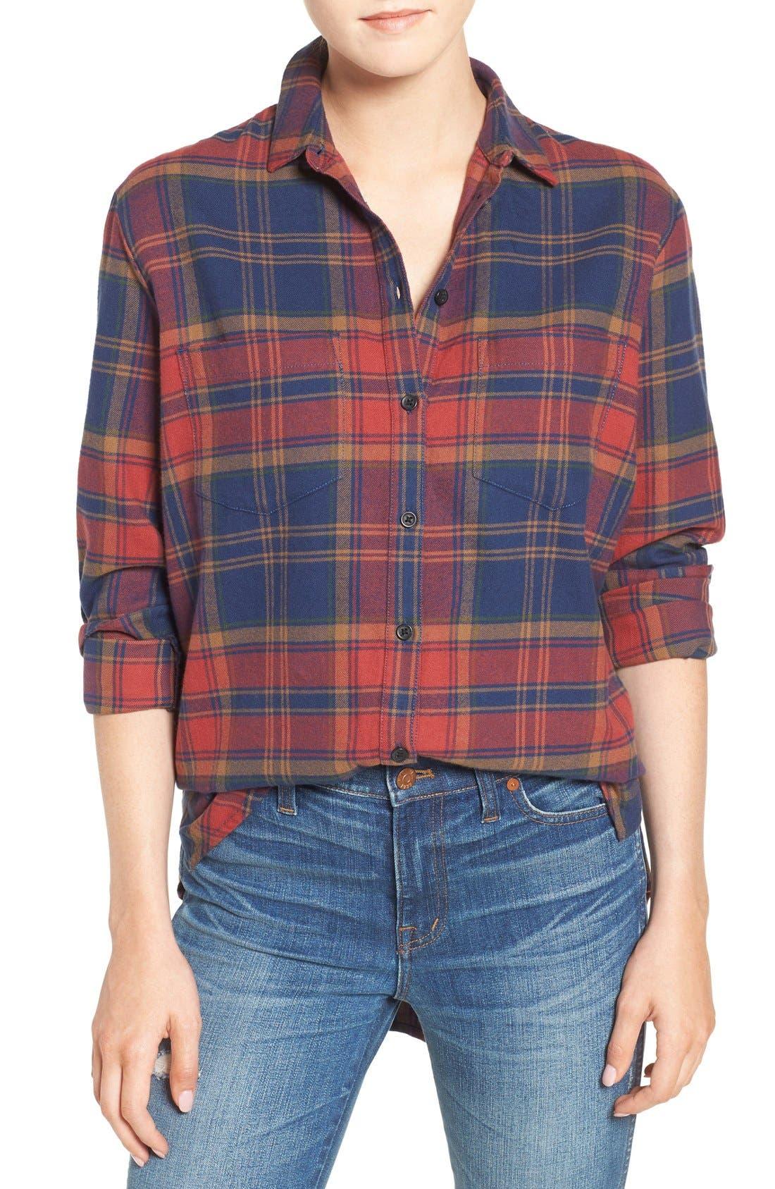 Ex-Boyfriend Shrunken Flannel Boyfriend Shirt,                             Main thumbnail 1, color,                             650