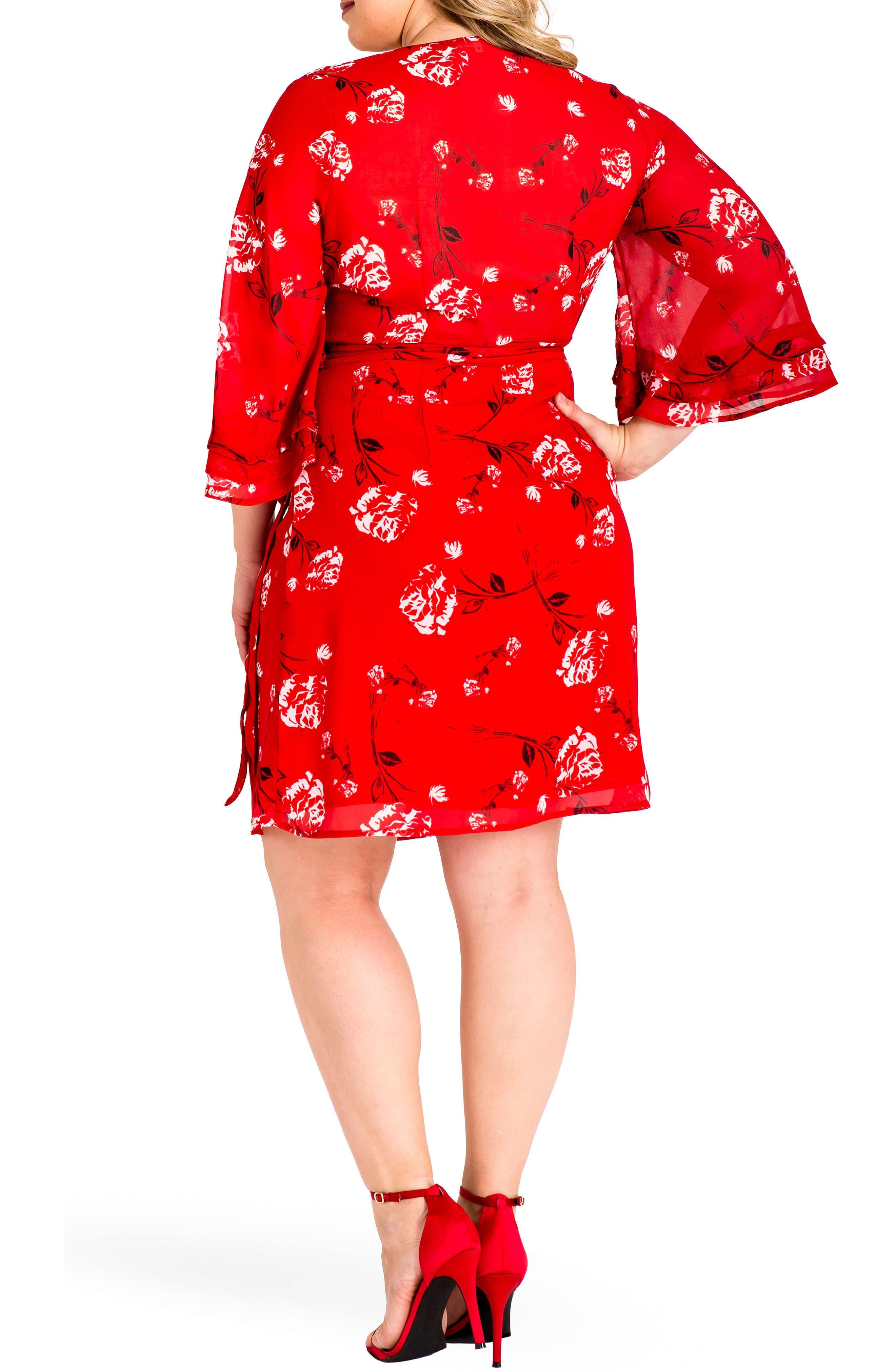 Lulu Wrap Dress,                             Alternate thumbnail 2, color,                             RED TULIP PRINT