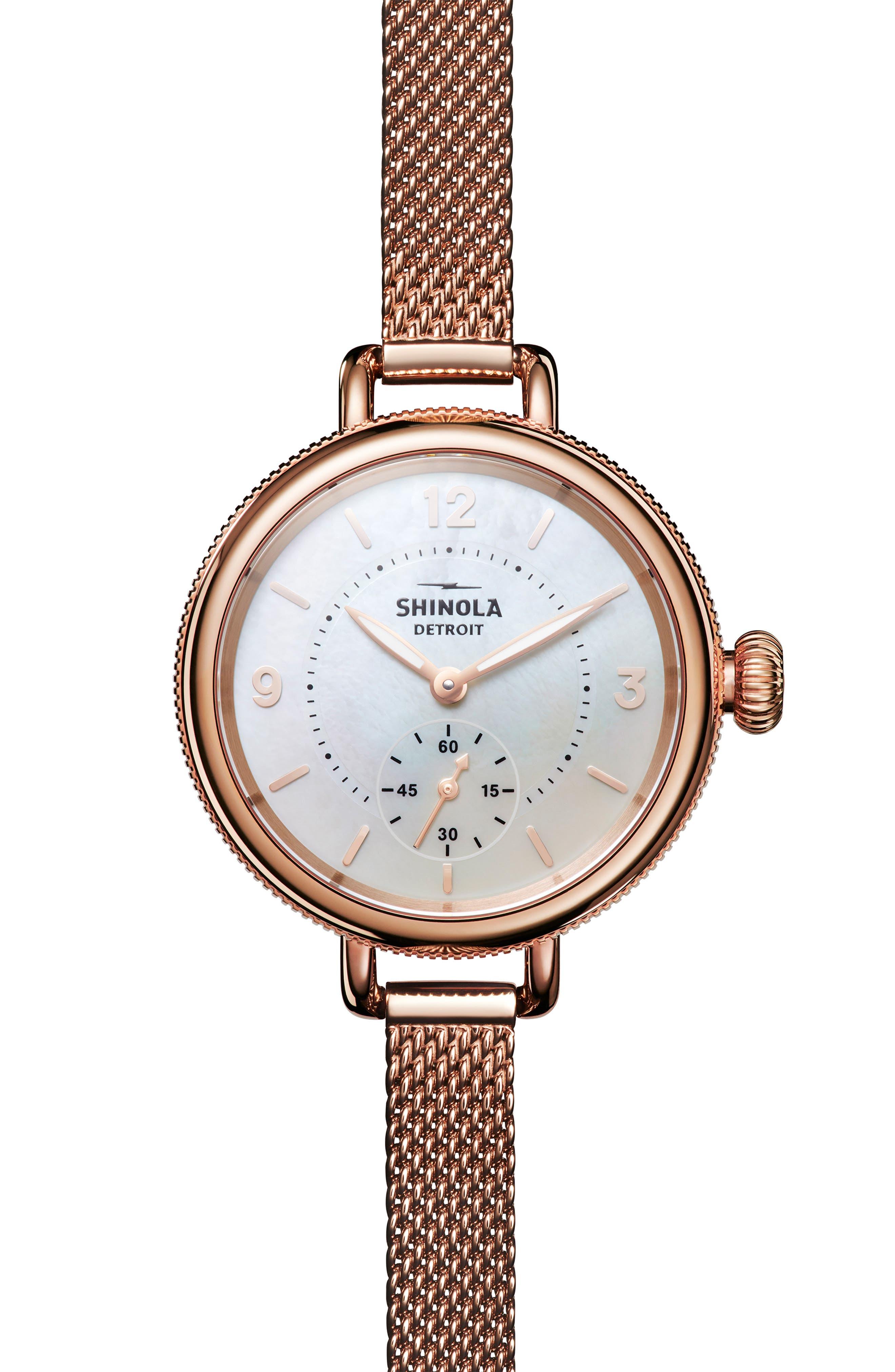 Birdy Mesh Bracelet Watch, 34mm,                             Main thumbnail 1, color,                             ROSE GOLD/ WHITE/ ROSE GOLD