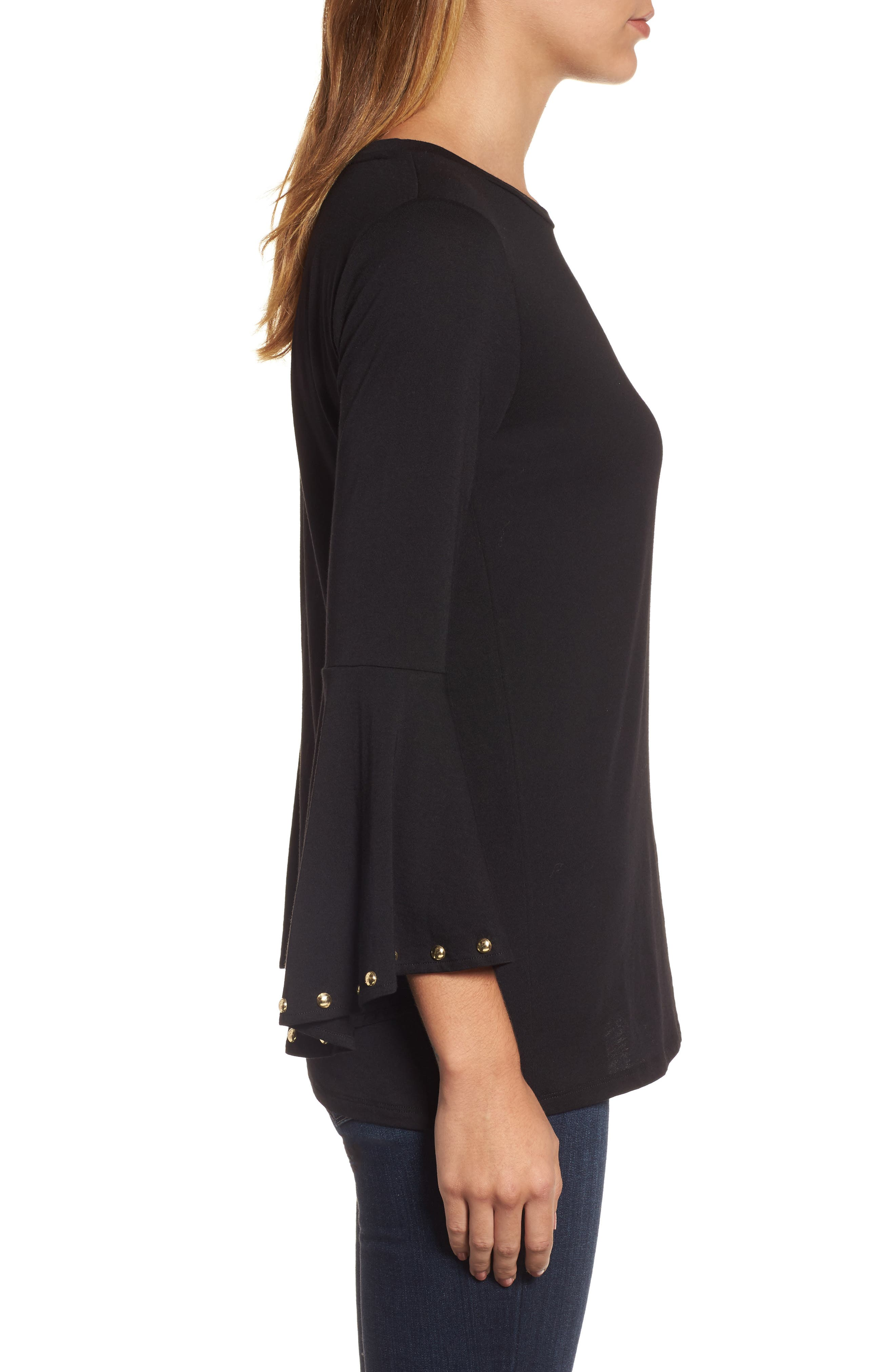 High/Low Bell Sleeve Top,                             Alternate thumbnail 7, color,