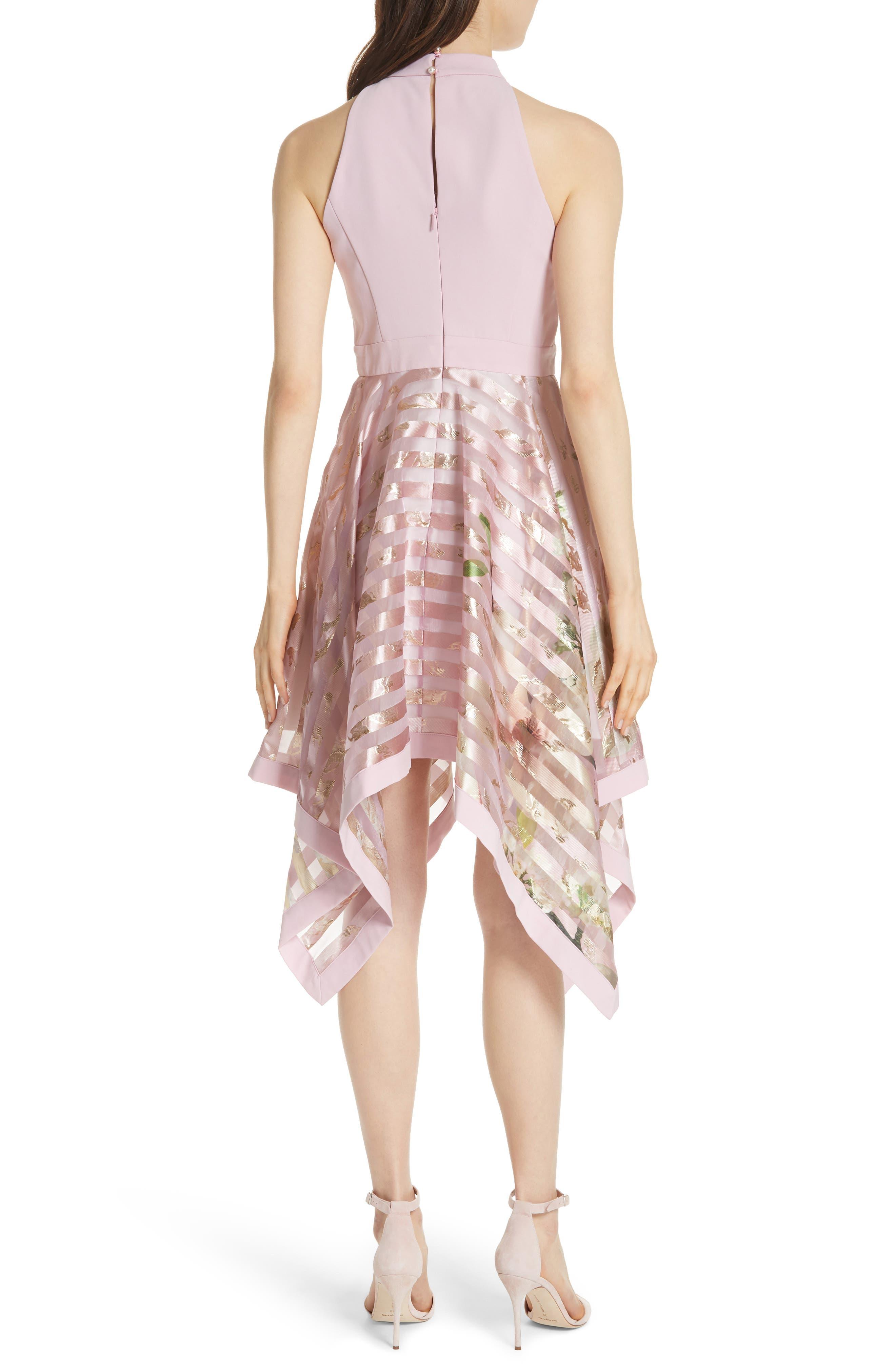 Harmony Burnout Metallic Stripe Dress,                             Alternate thumbnail 2, color,                             PALE PINK