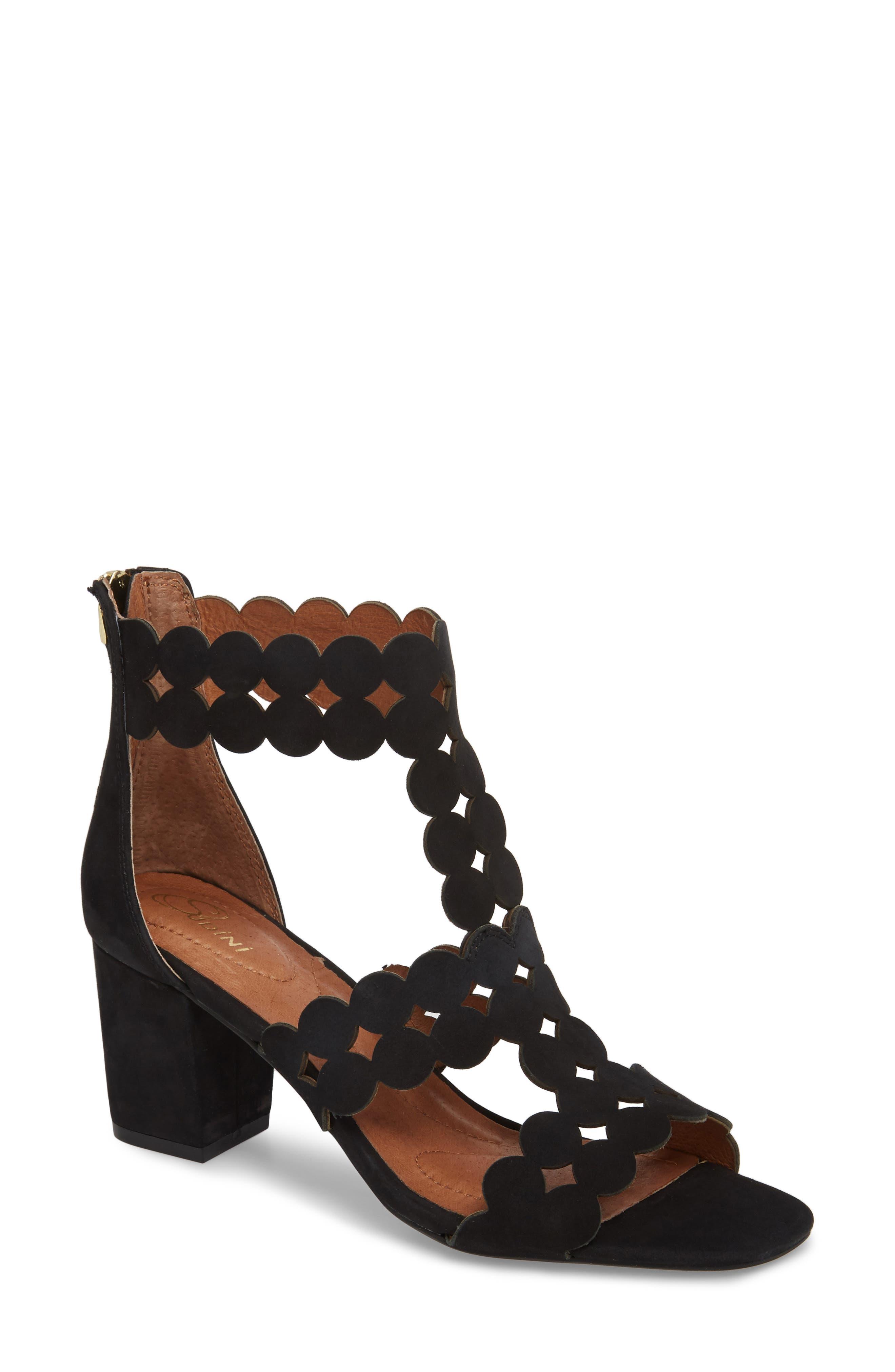 SUDINI,                             Novara Block Heel Sandal,                             Main thumbnail 1, color,                             BLACK NUBUCK LEATHER