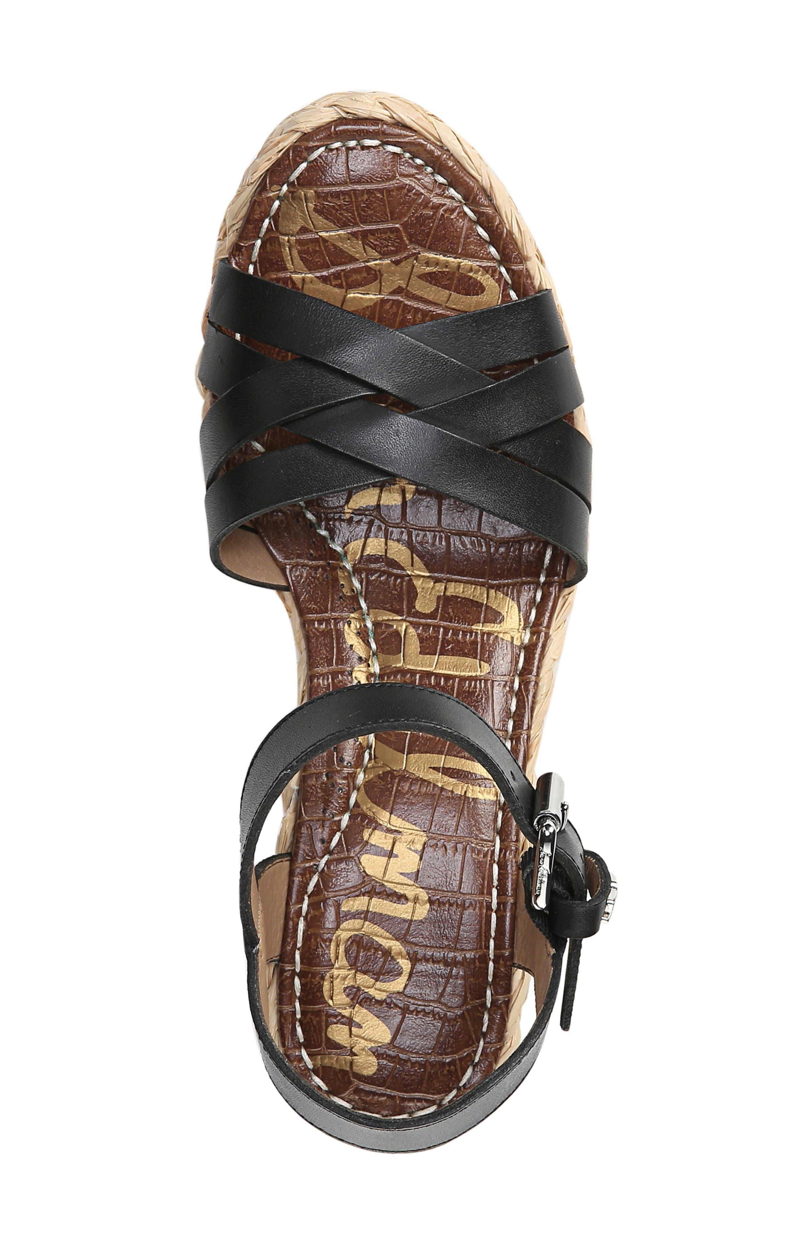 SAM EDELMAN,                             Darline Platform Wedge Sandal,                             Alternate thumbnail 4, color,                             BLACK LEATHER