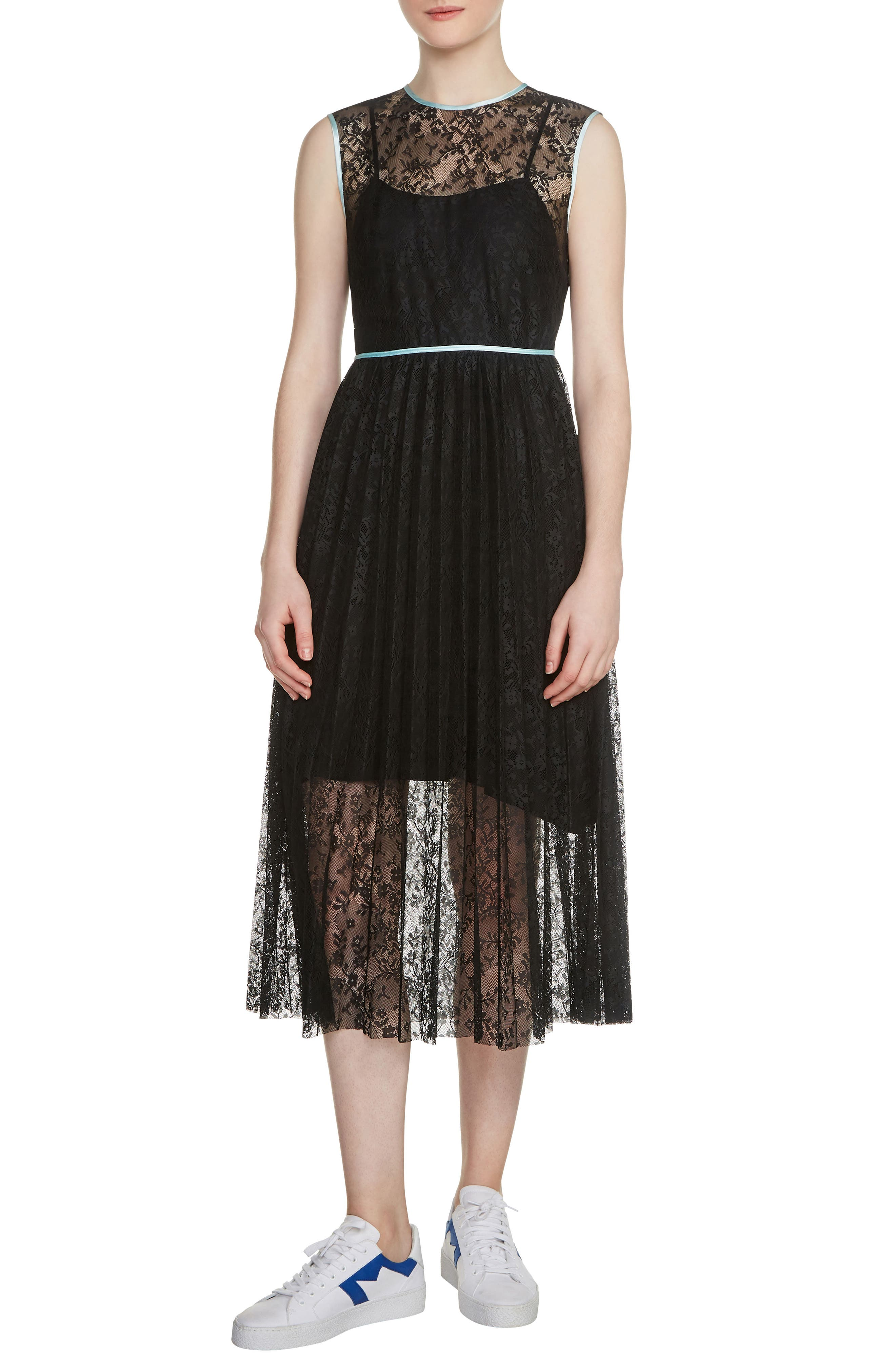 Rabila Lace Midi Dress,                             Main thumbnail 1, color,                             001