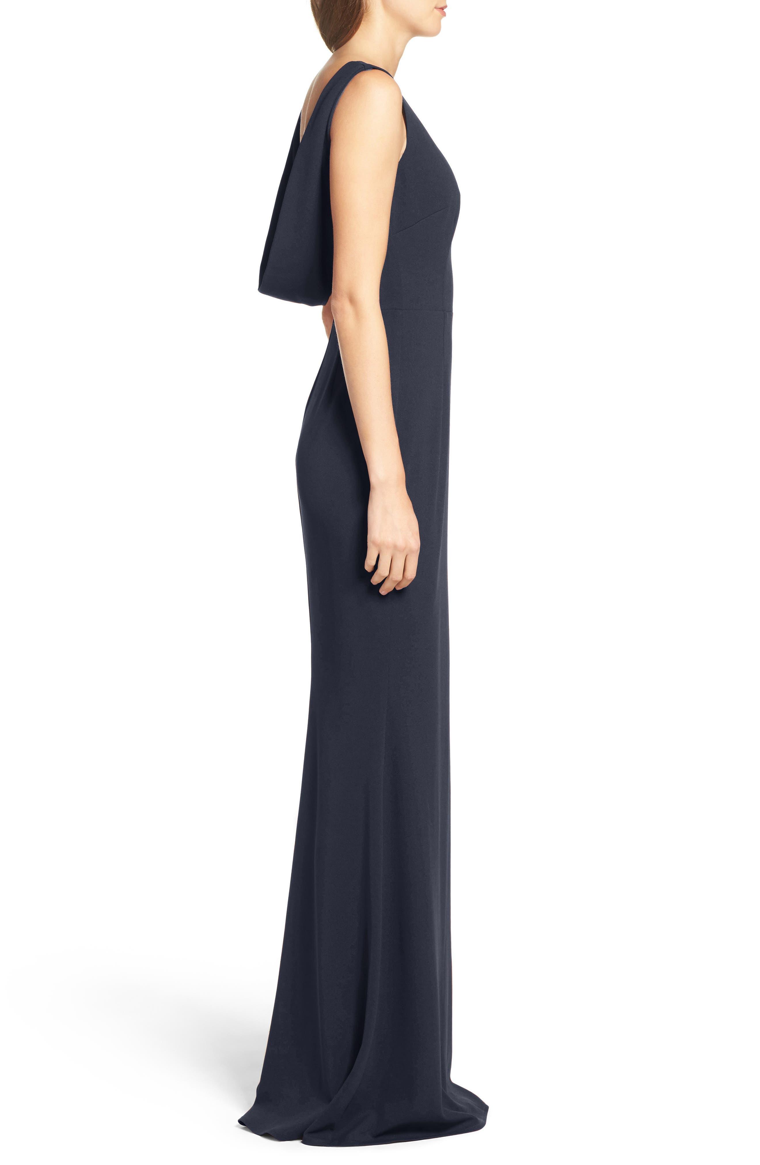 Vionnet Drape Back Crepe Gown,                             Alternate thumbnail 3, color,                             NAVY