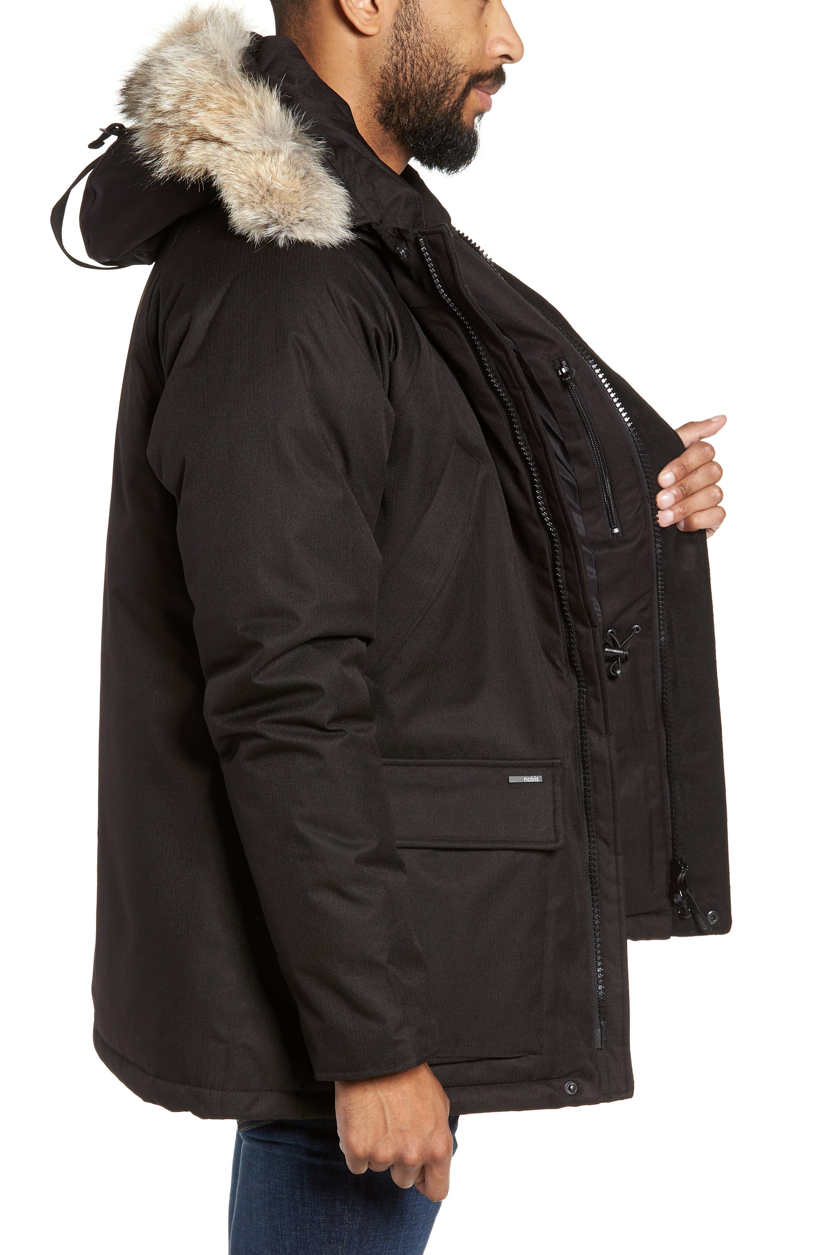 Heritage Down Parka with Genuine Coyote Fur Trim,                             Alternate thumbnail 3, color,                             BLACK