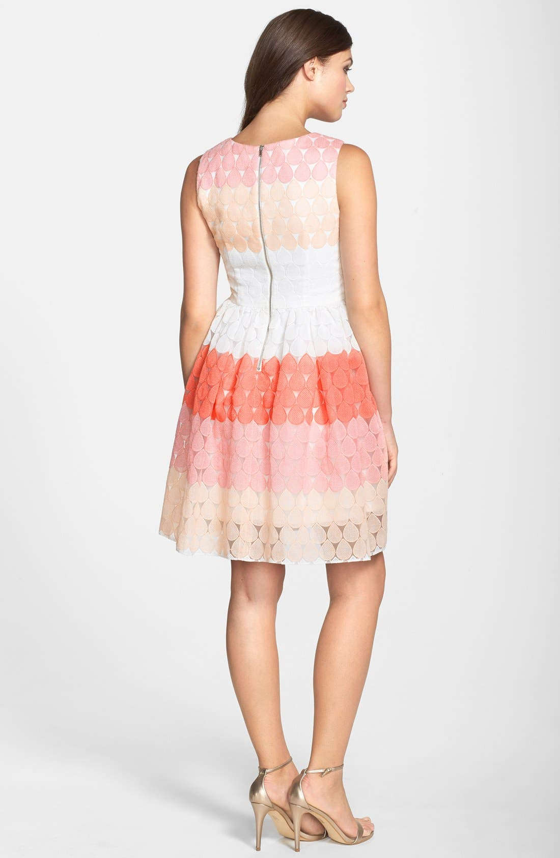 Stripe Embroidered Fit & Flare Dress,                             Alternate thumbnail 4, color,                             624