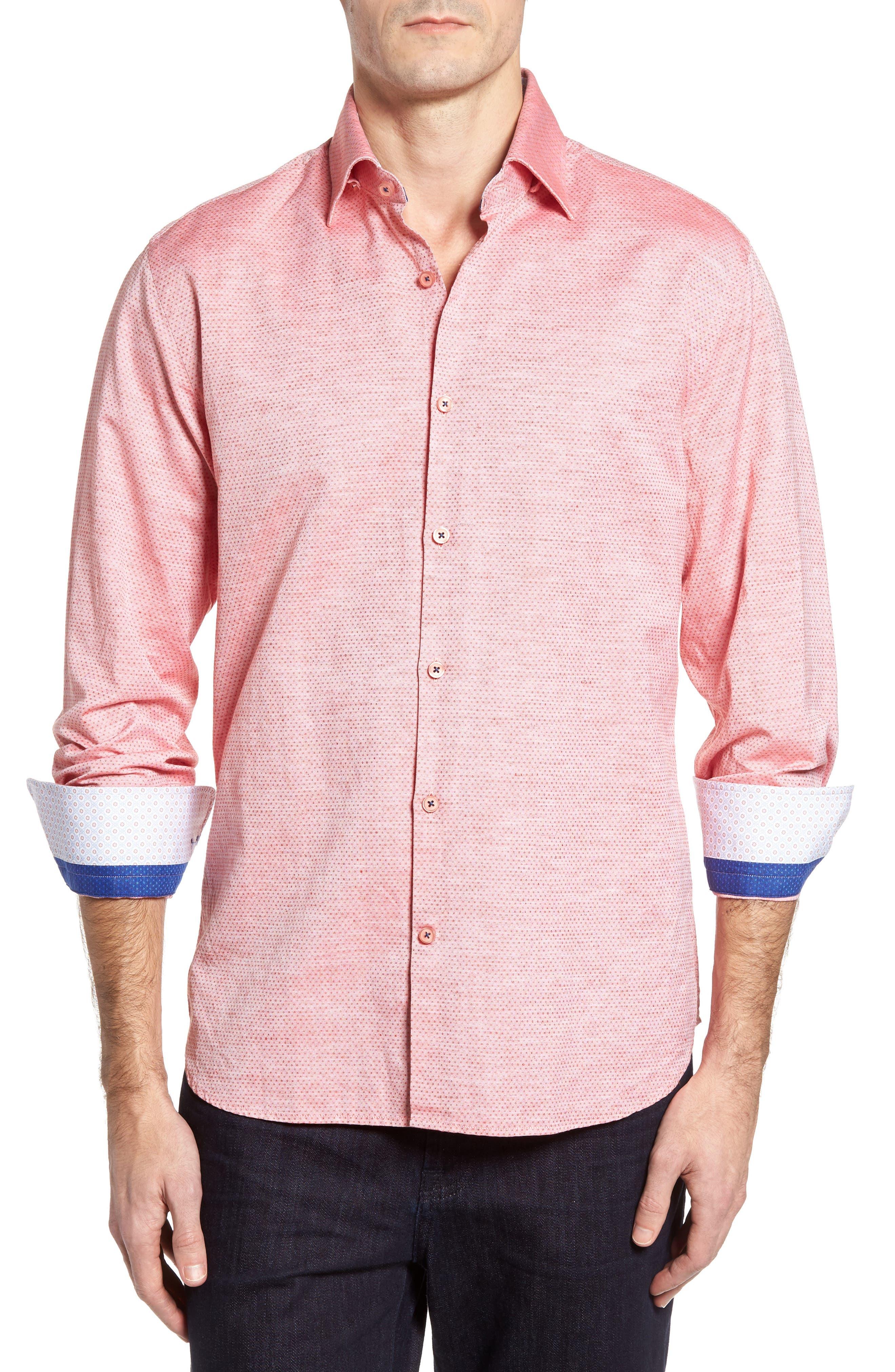 Dobby Cotton & Linen Sport Shirt,                             Main thumbnail 4, color,