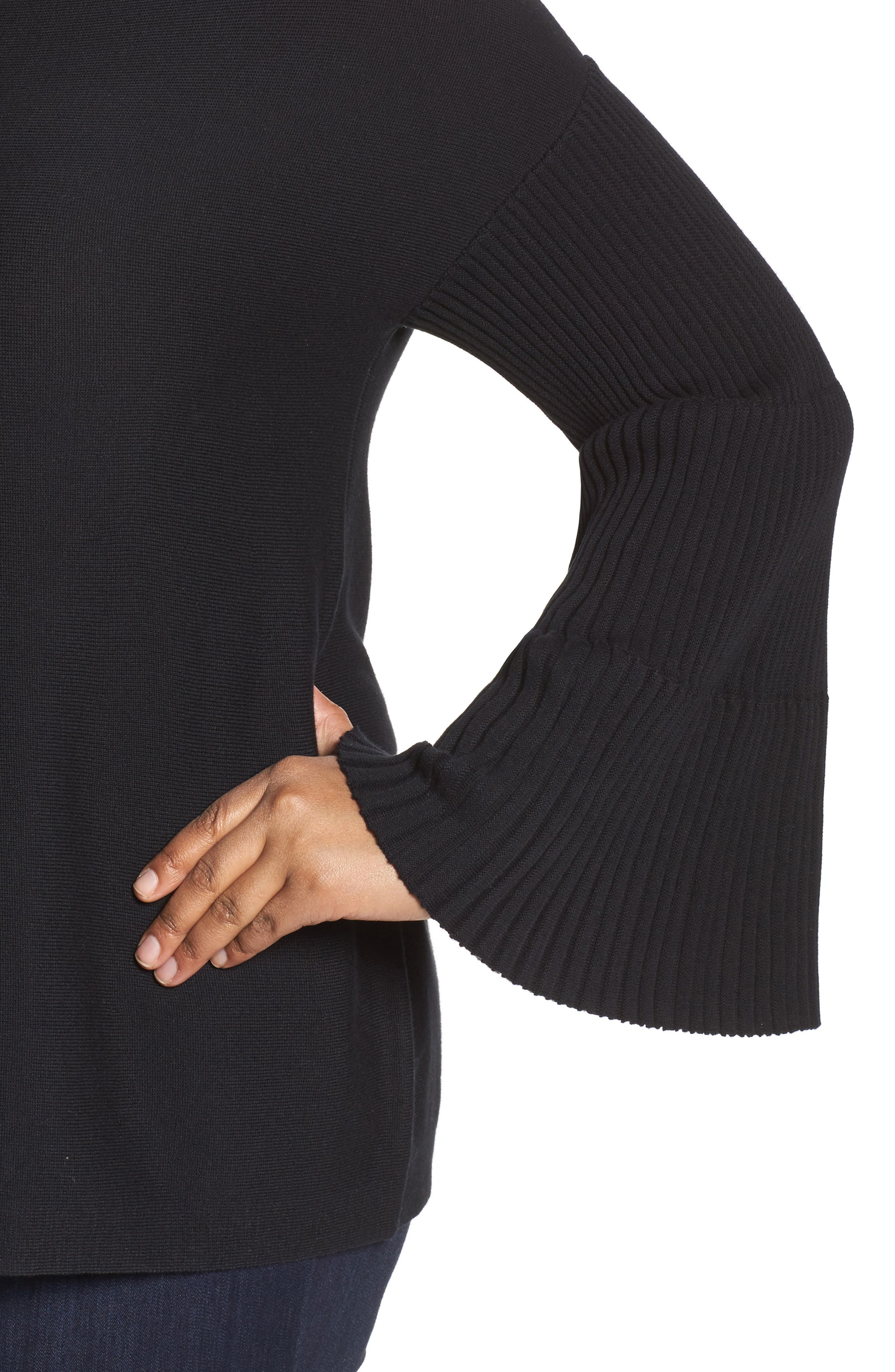 Ribbed Bell Sleeve Sweater,                             Alternate thumbnail 4, color,                             019
