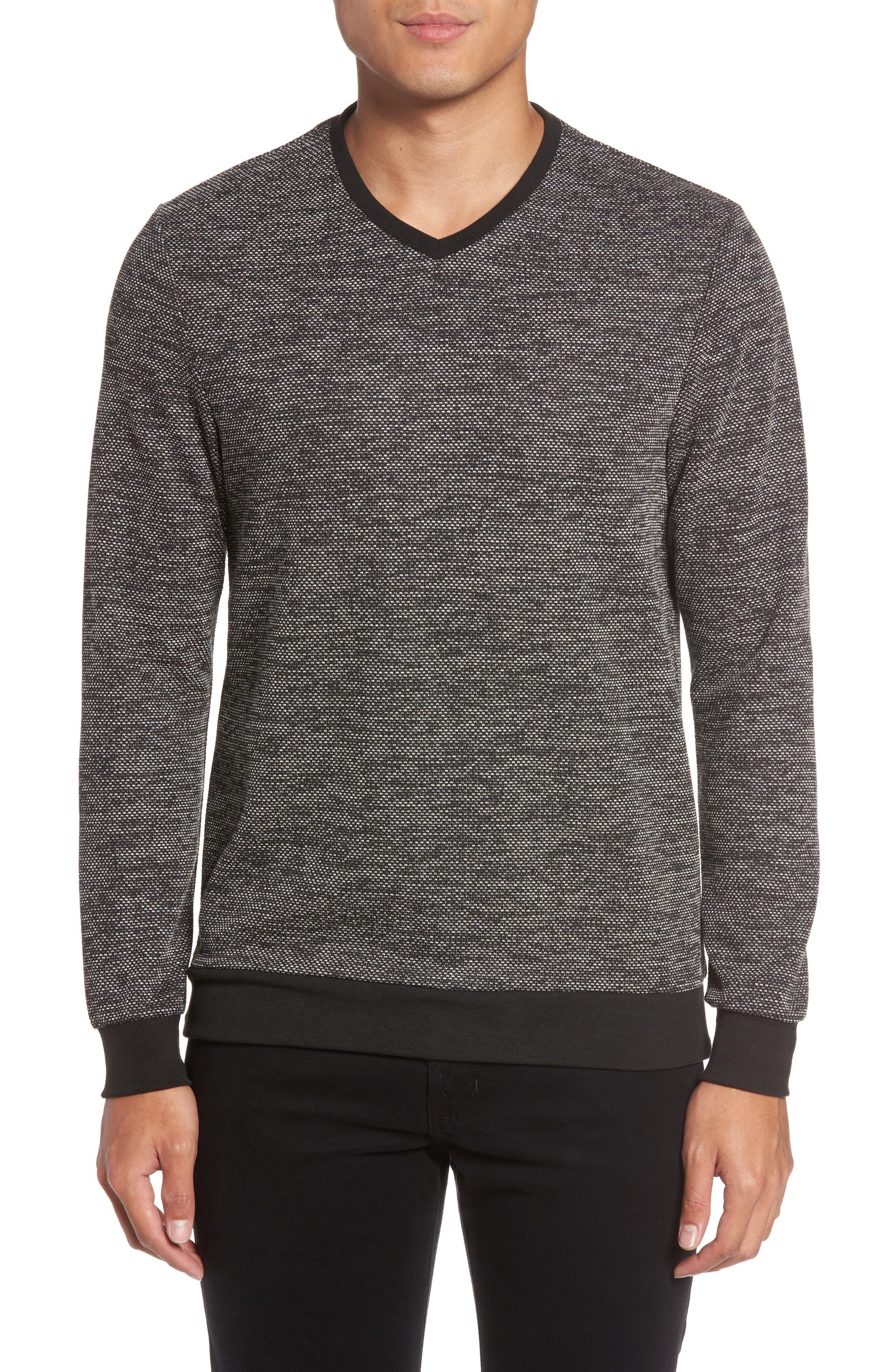 Trim Fit Mélange Pullover,                         Main,                         color, BLACK/WHITE