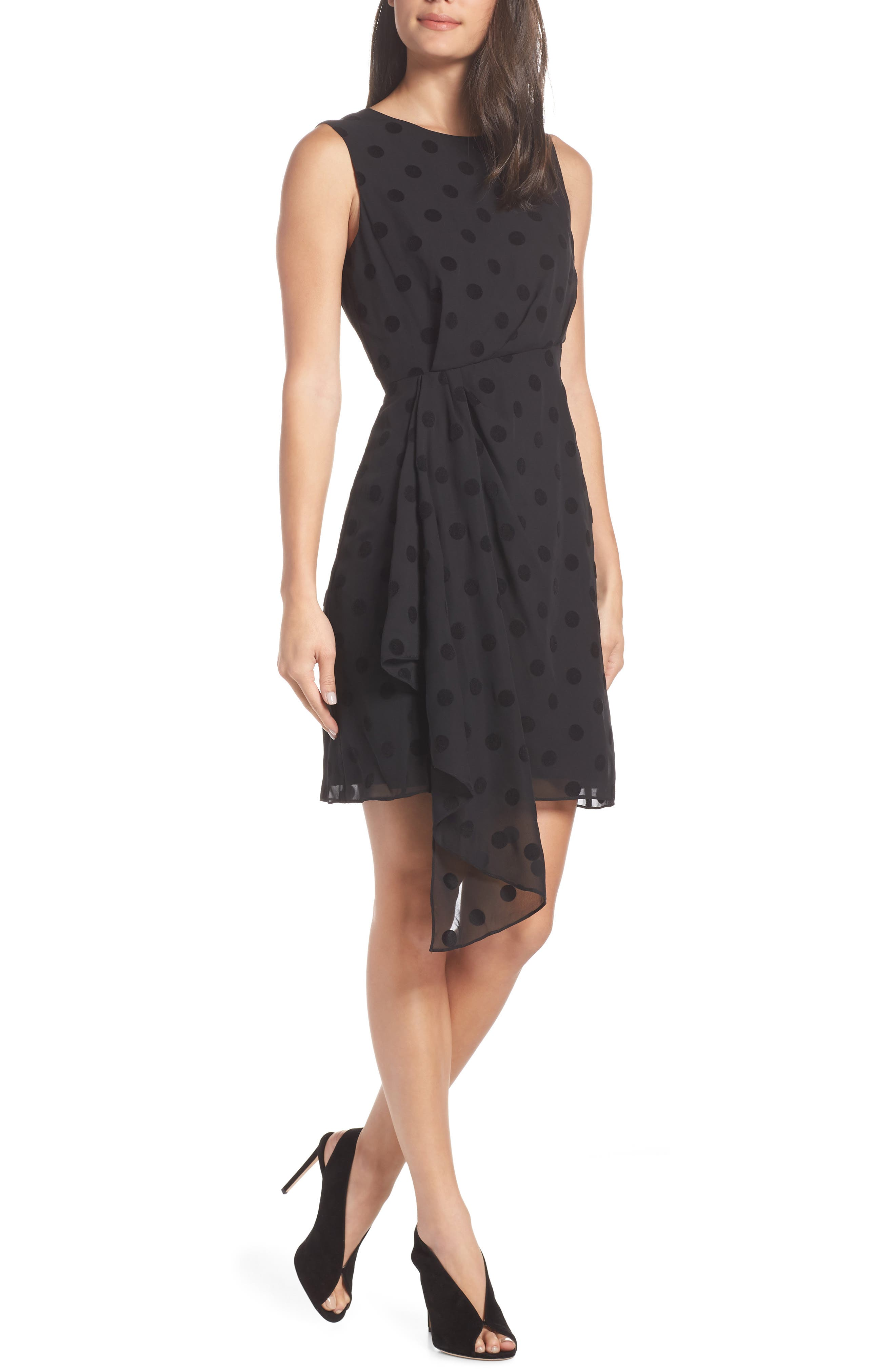 CHARLES HENRY Side Ruched Drape Swiss Dot Dress in Black
