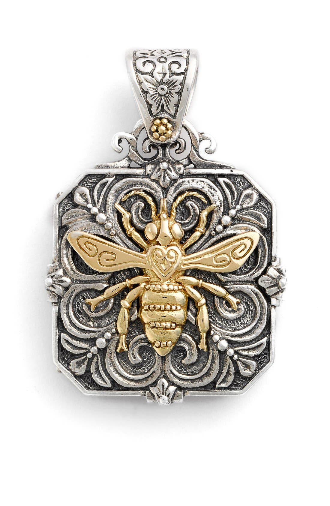 'Penelope' Bee Locket Pendant, Main, color, SILVER/ GOLD