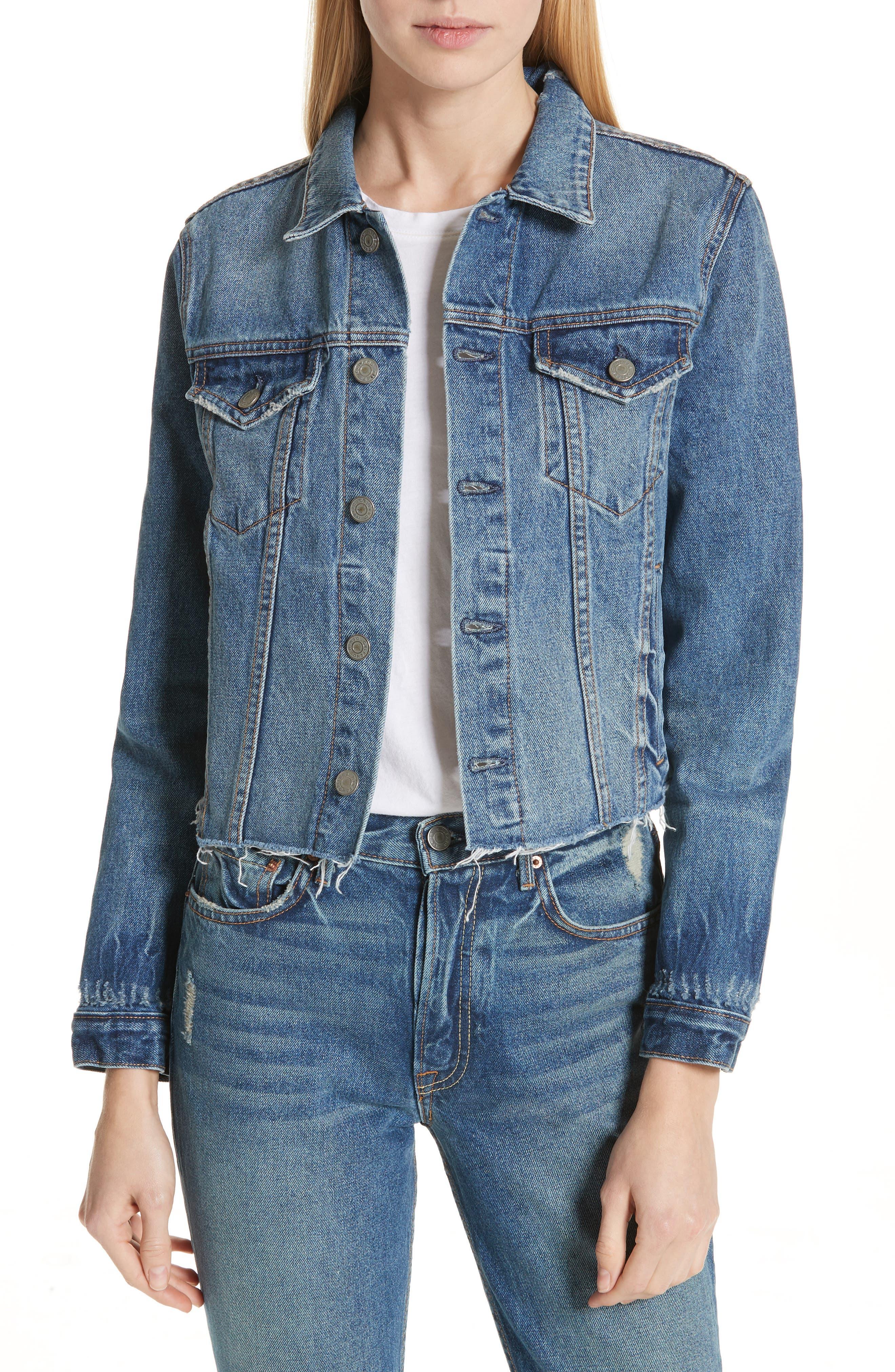 Cara Crop Denim Jacket,                         Main,                         color, G119