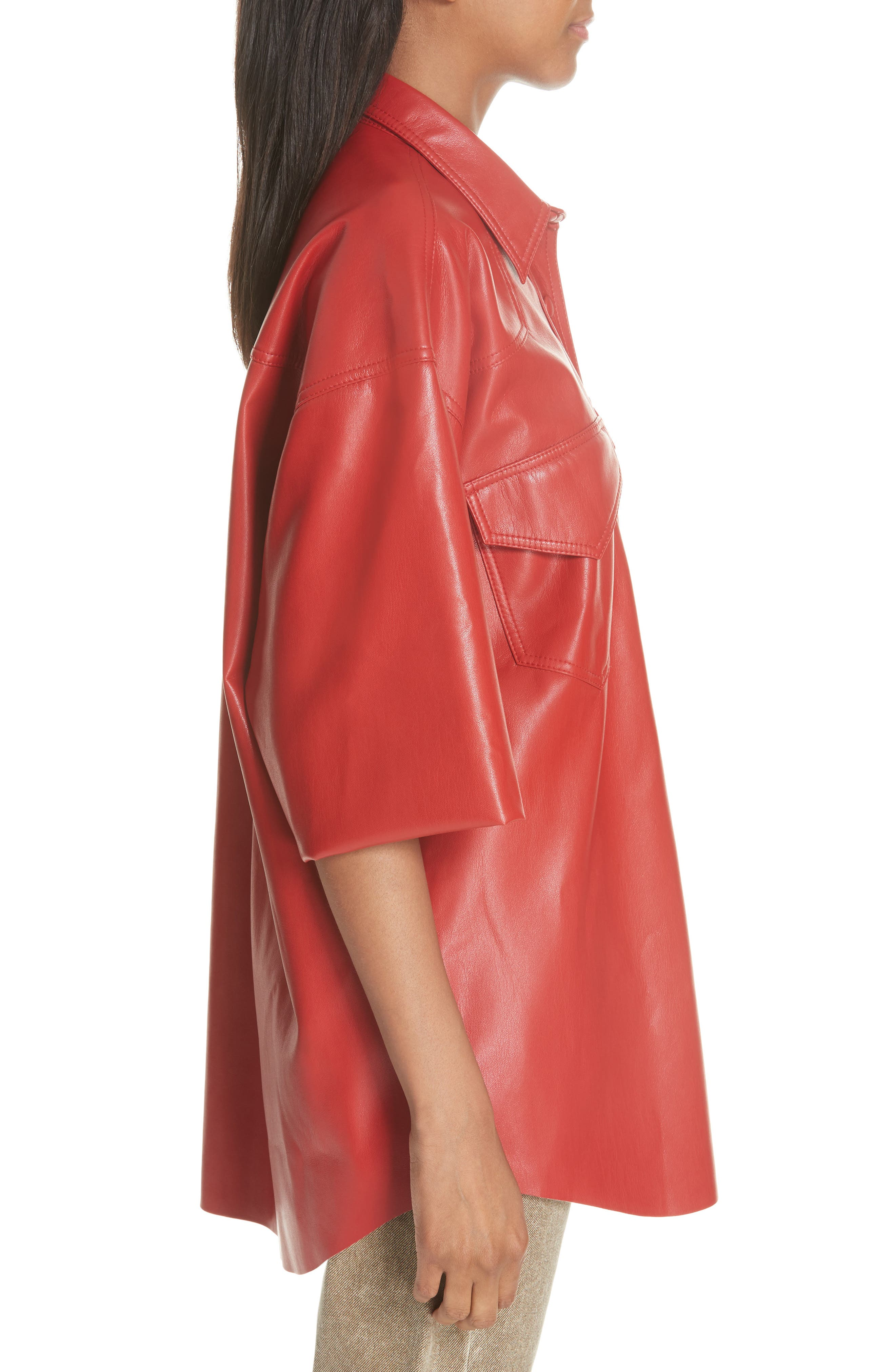 Seymour Faux Leather Shirt,                             Alternate thumbnail 3, color,                             RED