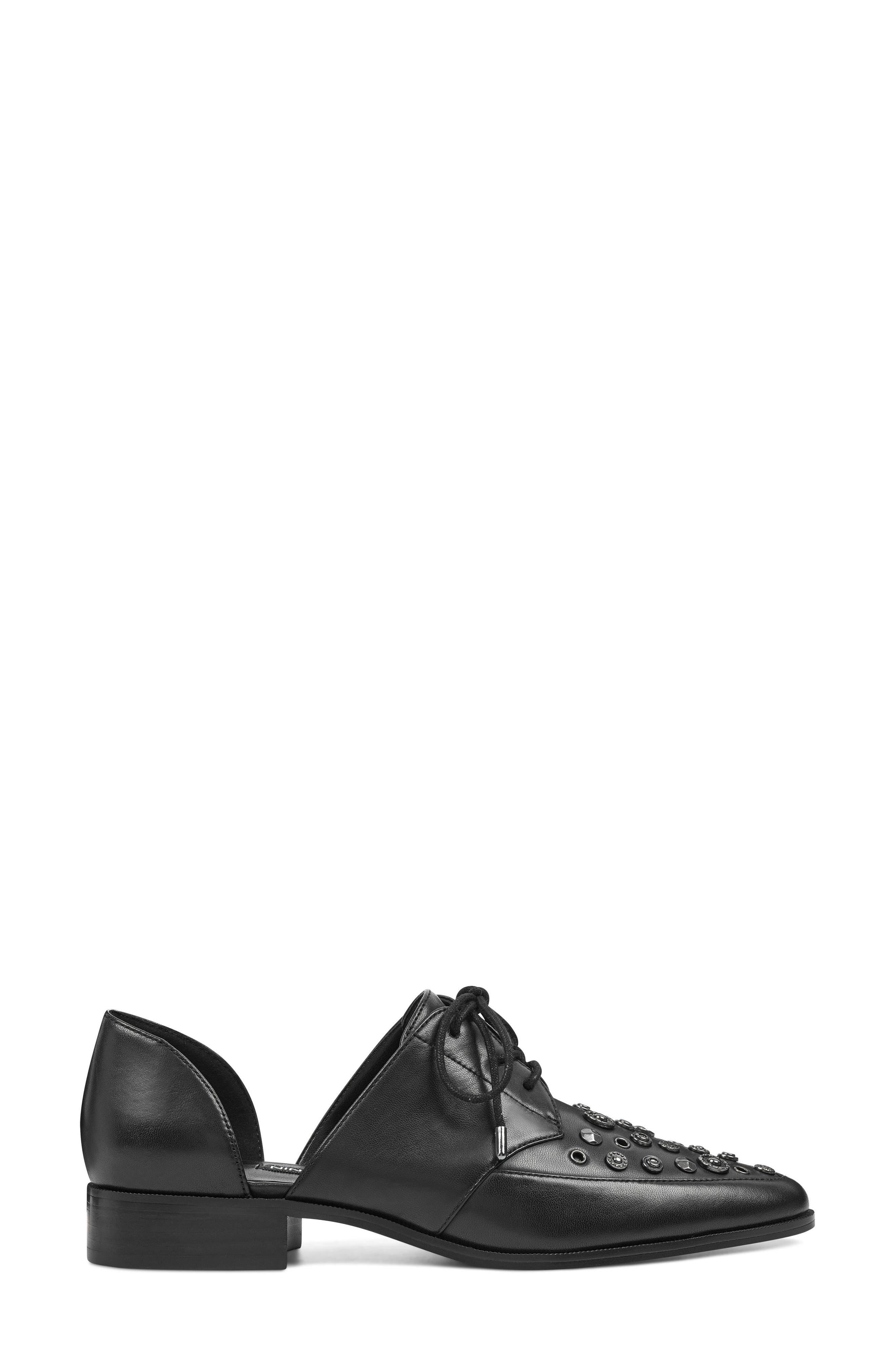 Woahalle Flat,                             Alternate thumbnail 3, color,                             BLACK LEATHER