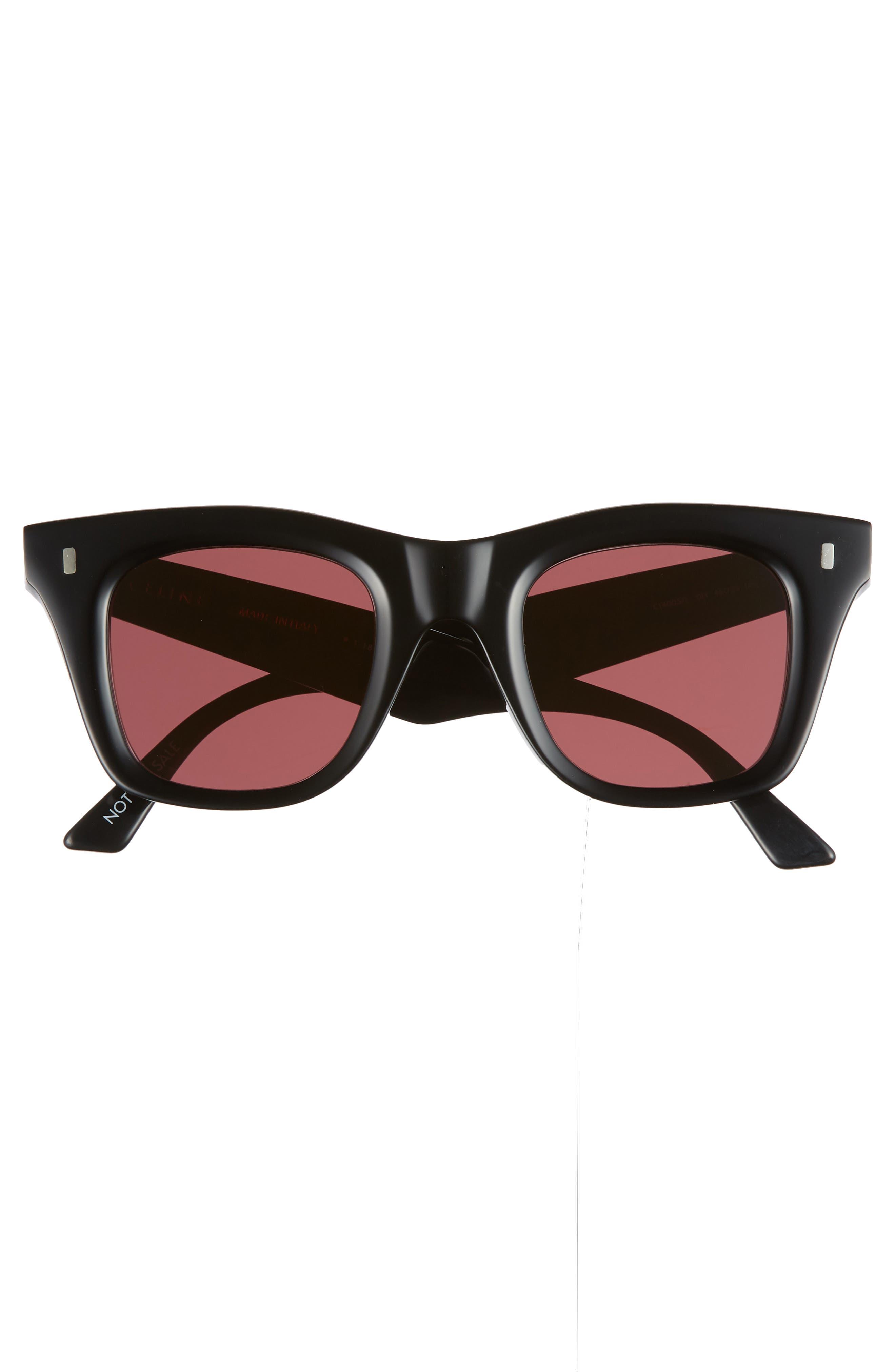 46mm Square Sunglasses,                             Alternate thumbnail 3, color,                             BLACK